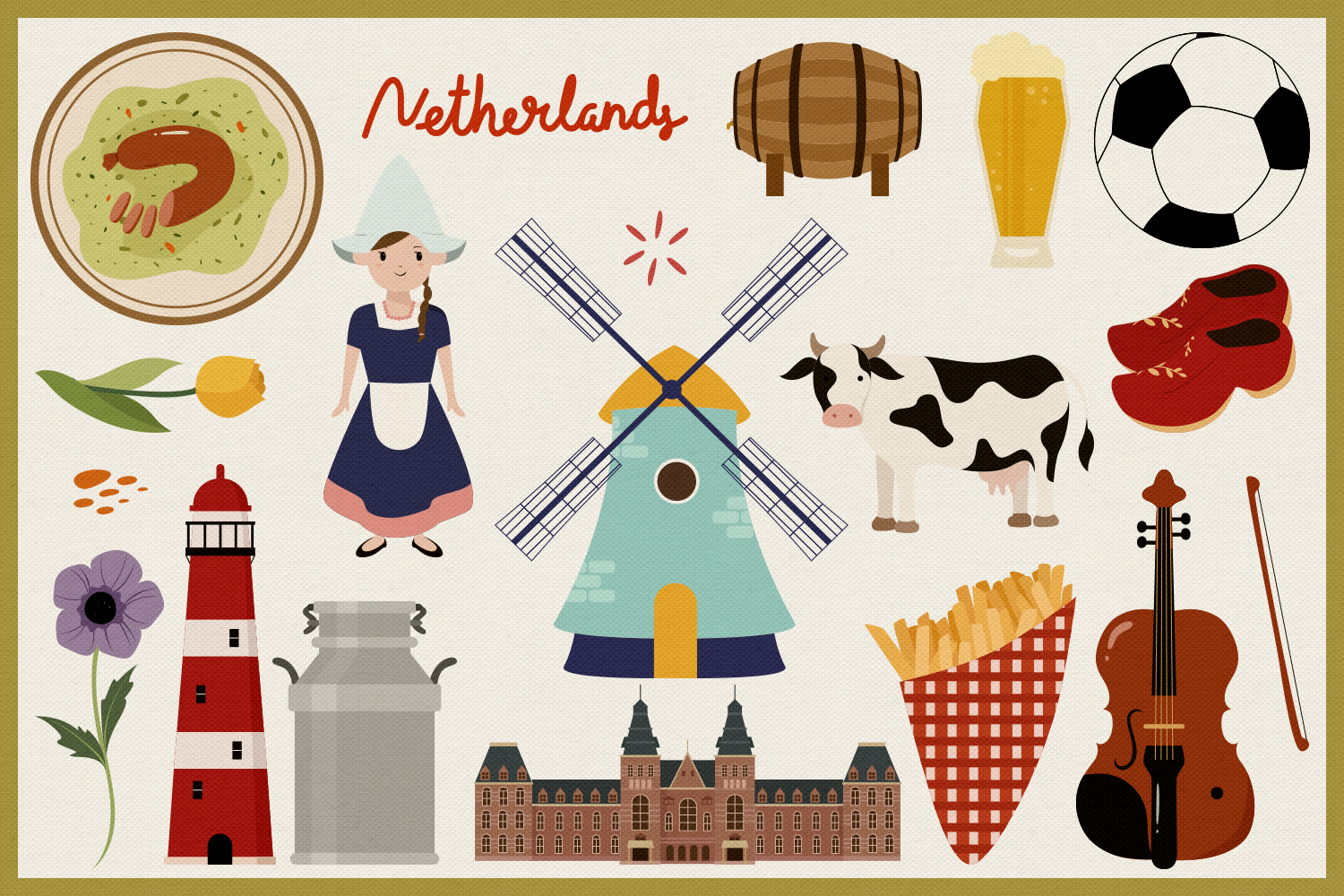 Netherlands Vector Clipart and Seamless Pattern example image 2
