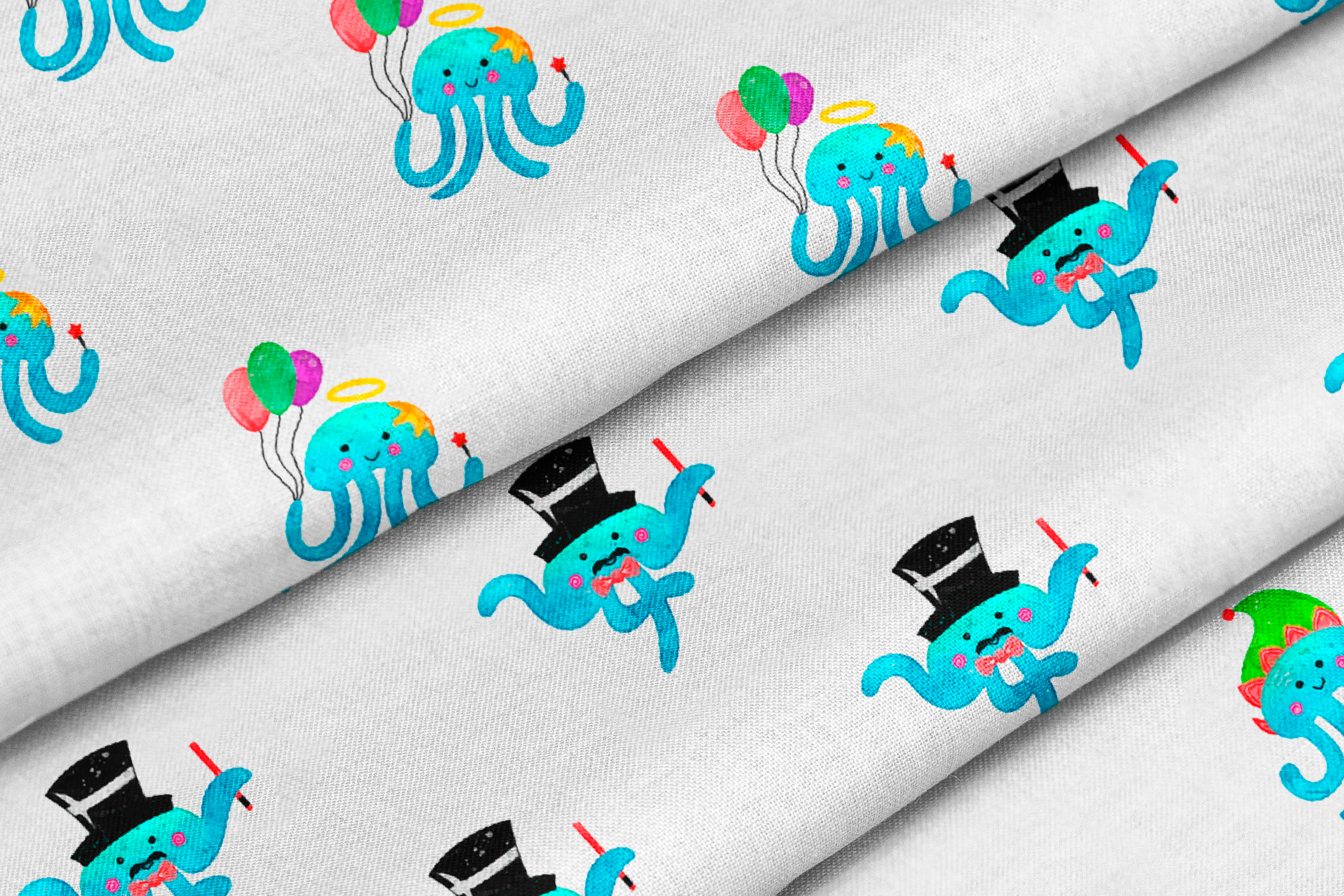 Christmas Jellyfish Watercolor Set and Vector Patterns example image 7