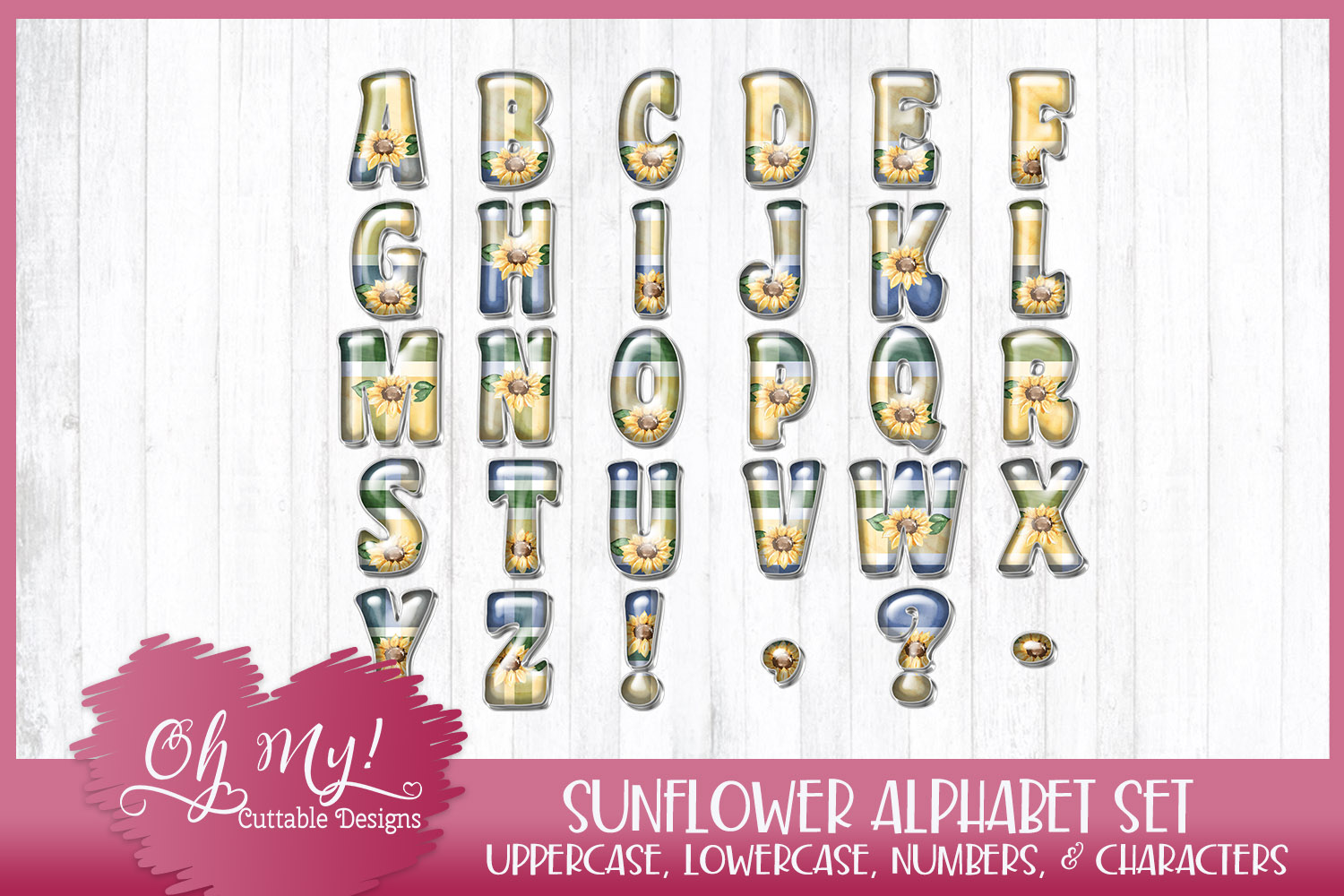 Sunflower Alphabet Bundle Clipart Graphics Word Art example image 2