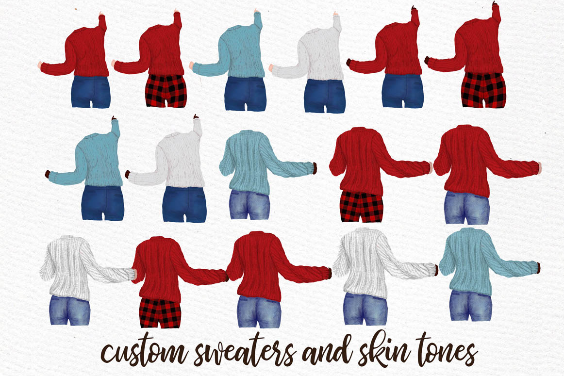 Girls Clipart Best friends clipart Girls in Sweaters clipart example image 7