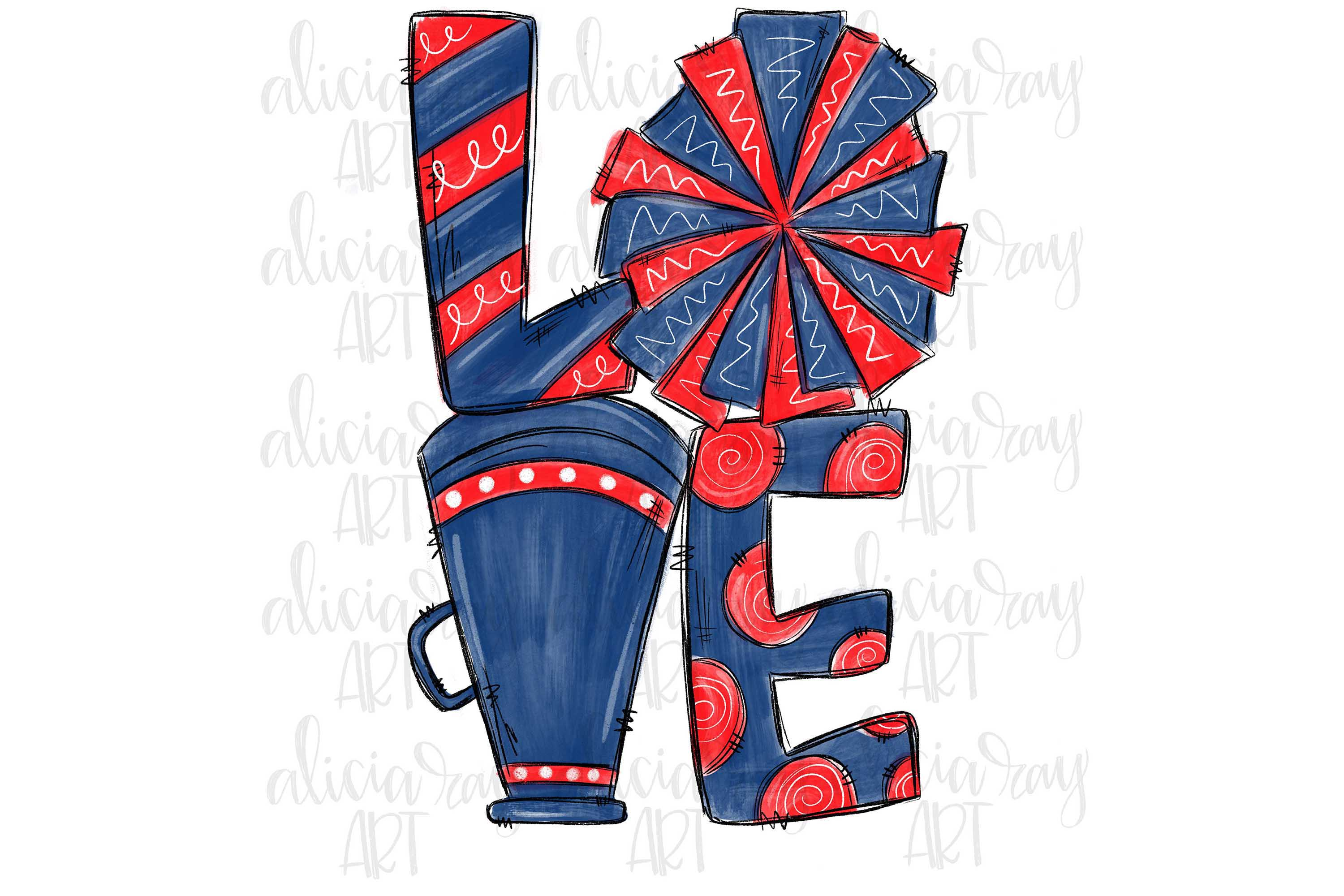 Cheer Love Navy and Red example image 1