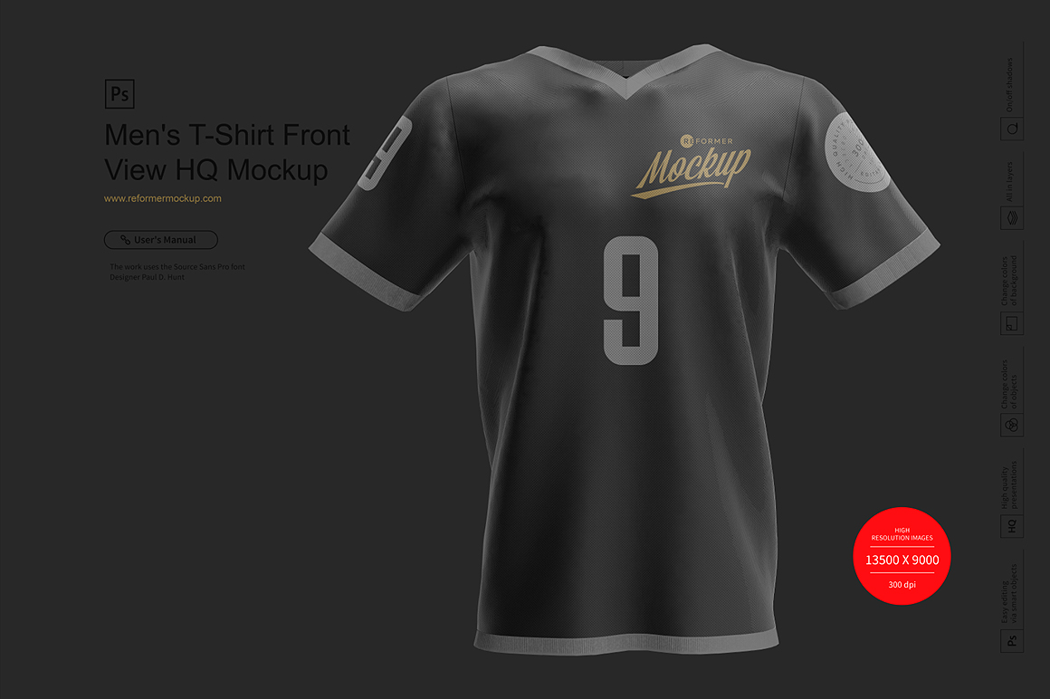 Men's T-Shirt Front View HQ Mockup example image 5