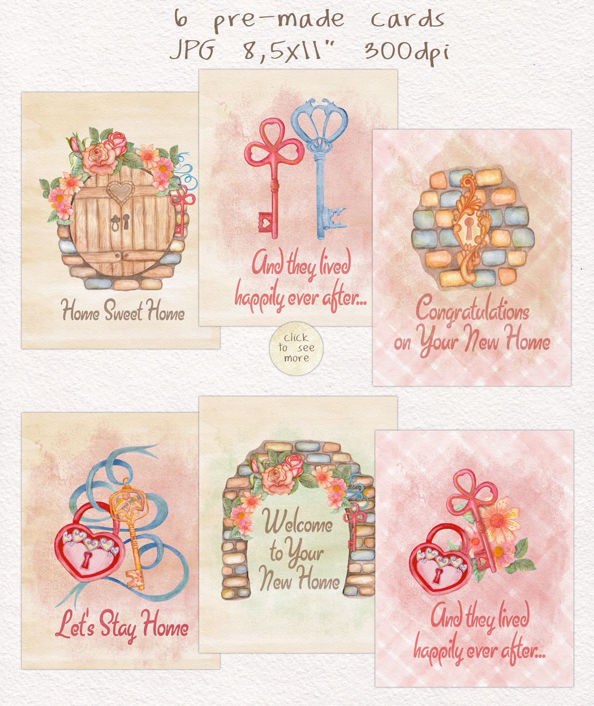 Home Sweet Home. Keys, floral watercolor wonderland collection example image 9