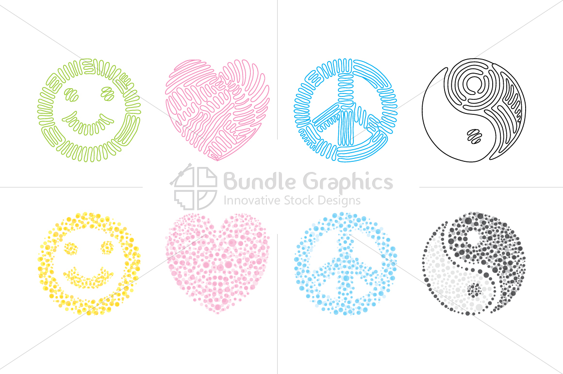 Smile, love, peace, balance - linear & dotted style Illustration Set example image 1