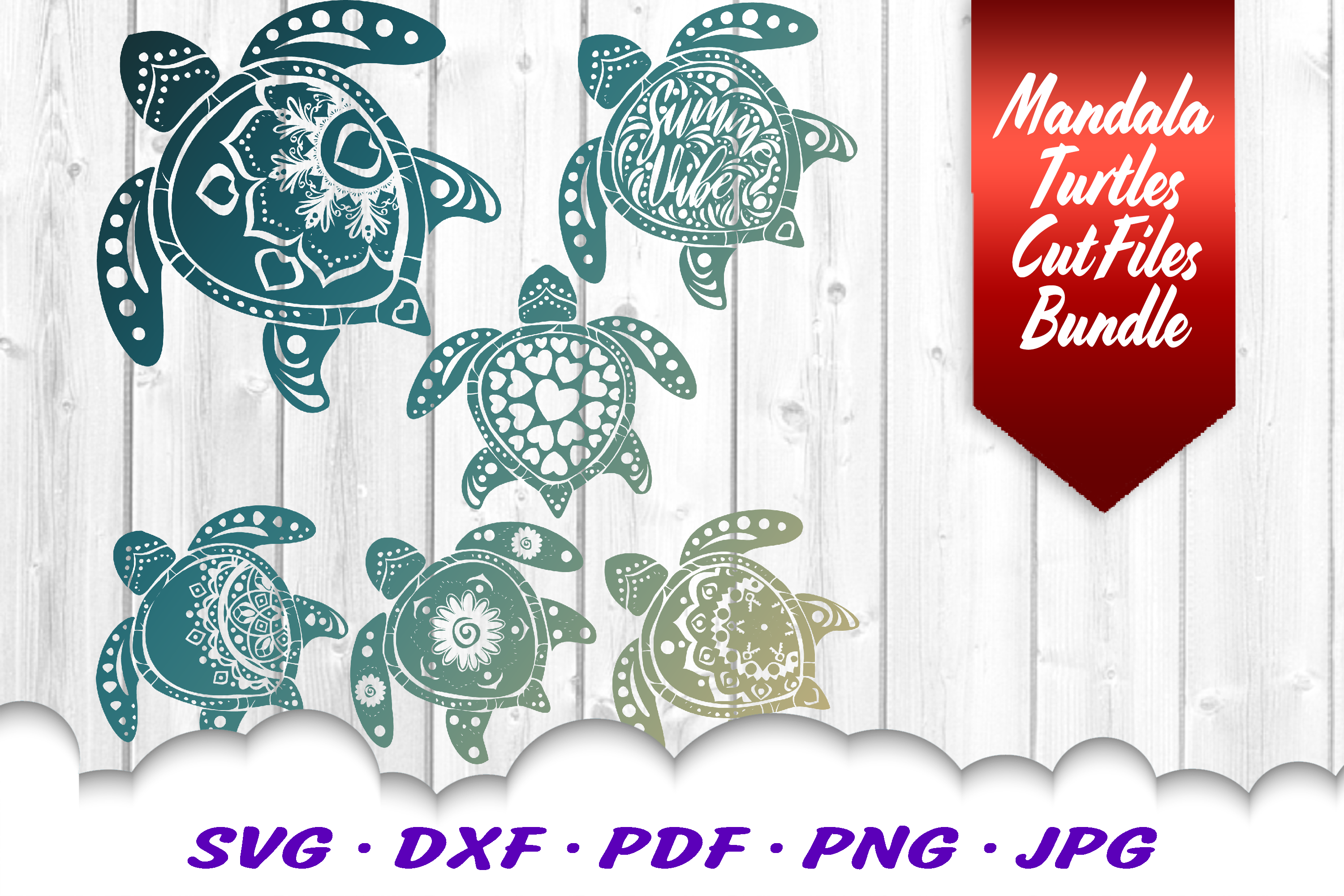 Mandala Sea Turtle SVG DXF Cut Files Bundle example image 1