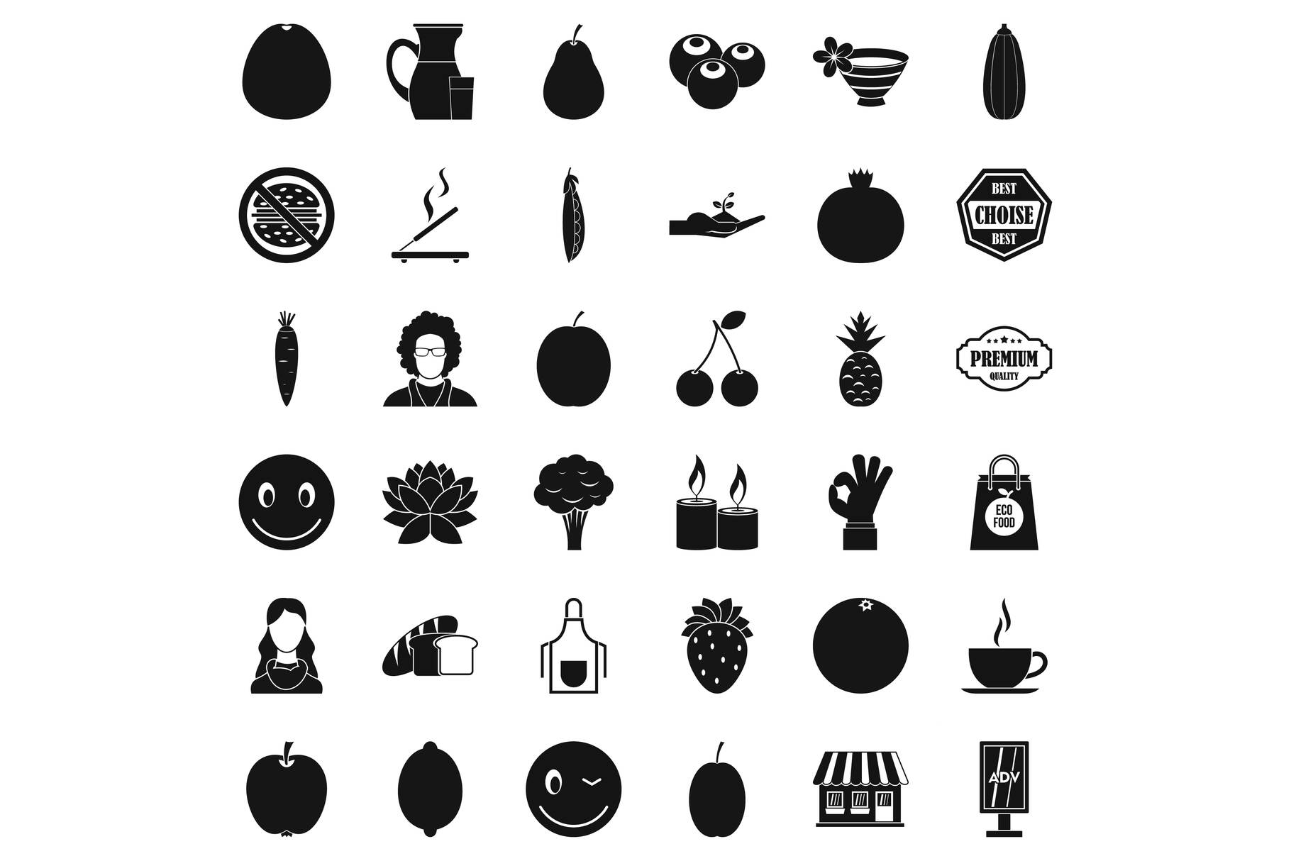 Vegetarian cook icons set, simple style example image 1