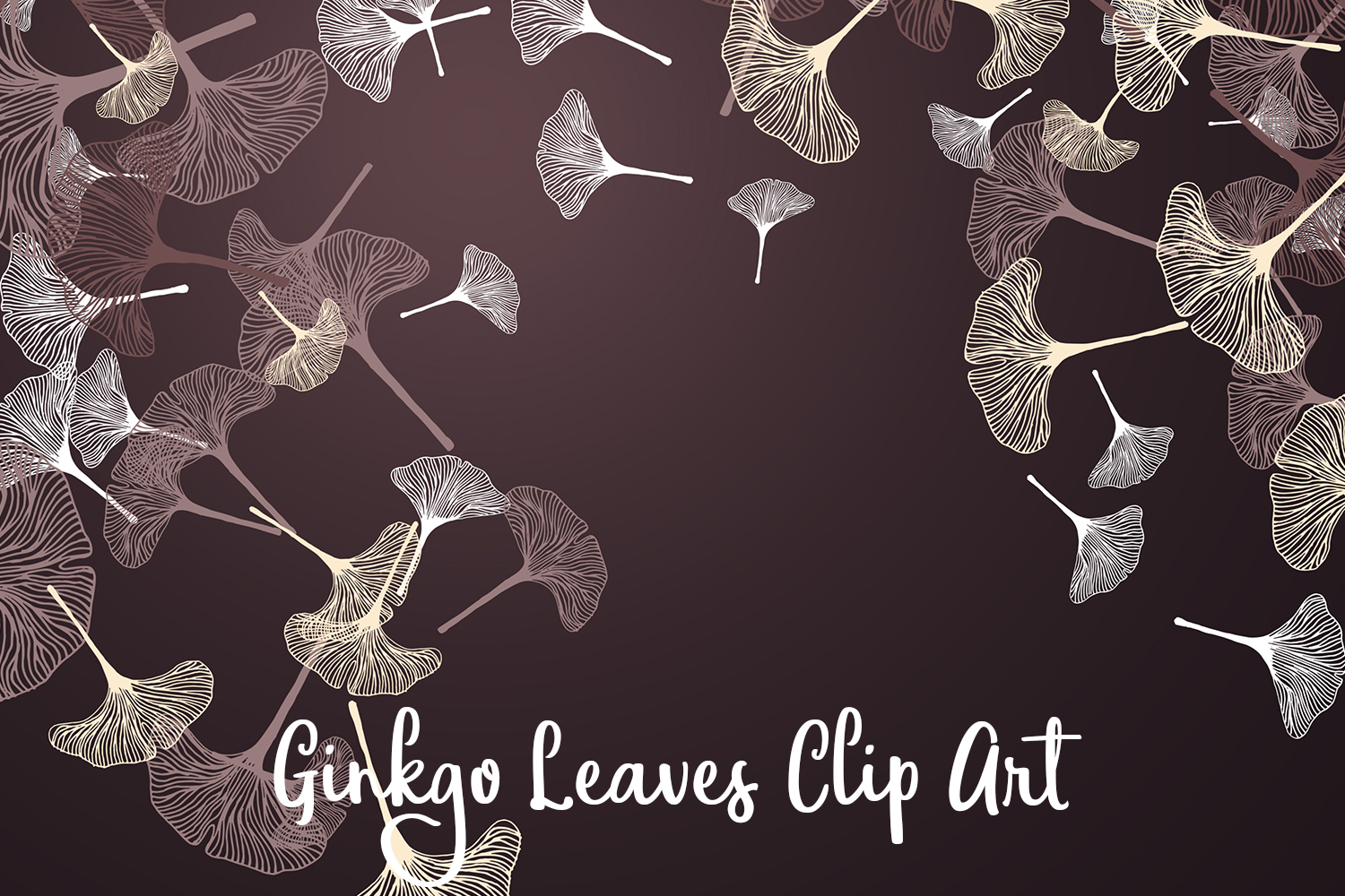 Ginkgo Leaves Clip Art, Vectors, PNGs and Digital Brushes example image 3