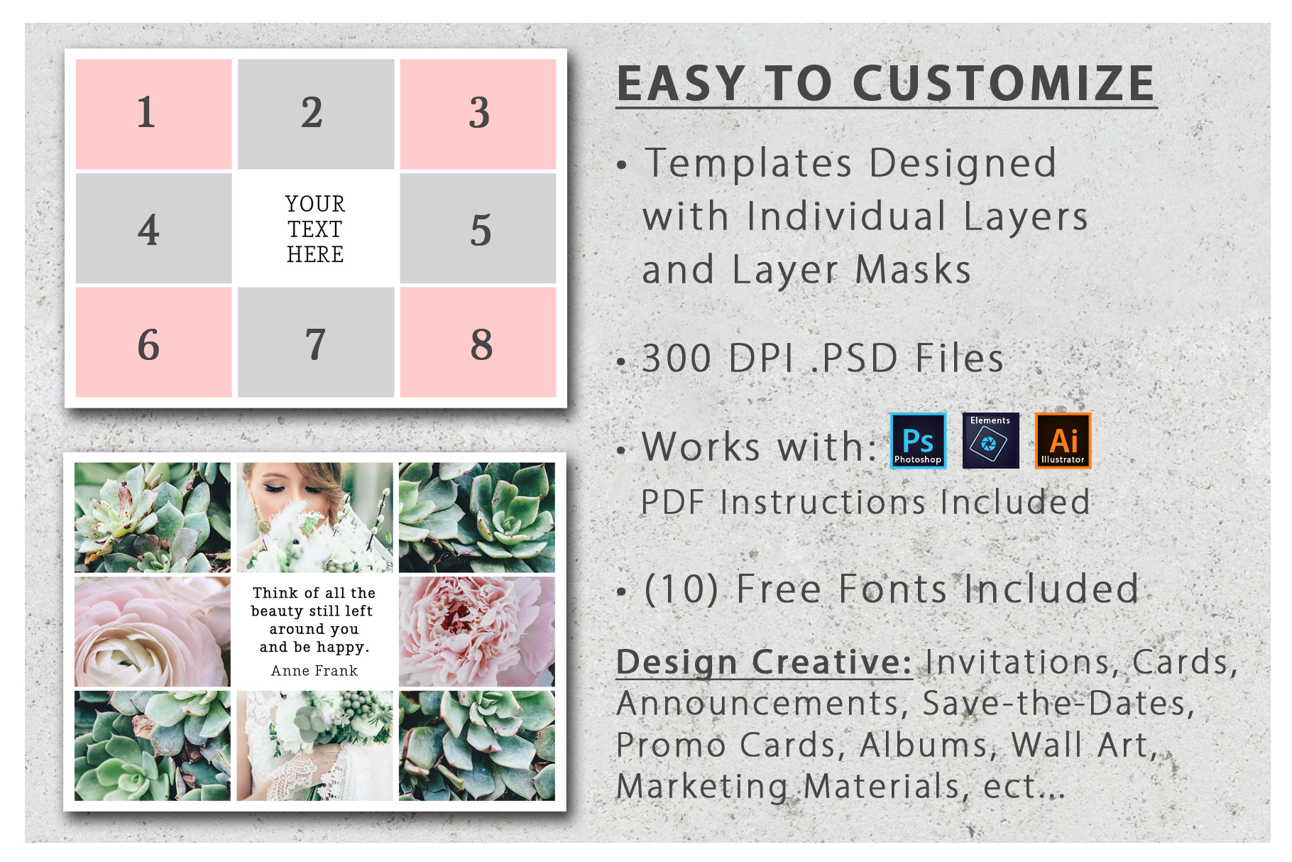 5x7 Photo Card and Invitation Collage Template Pack example image 4