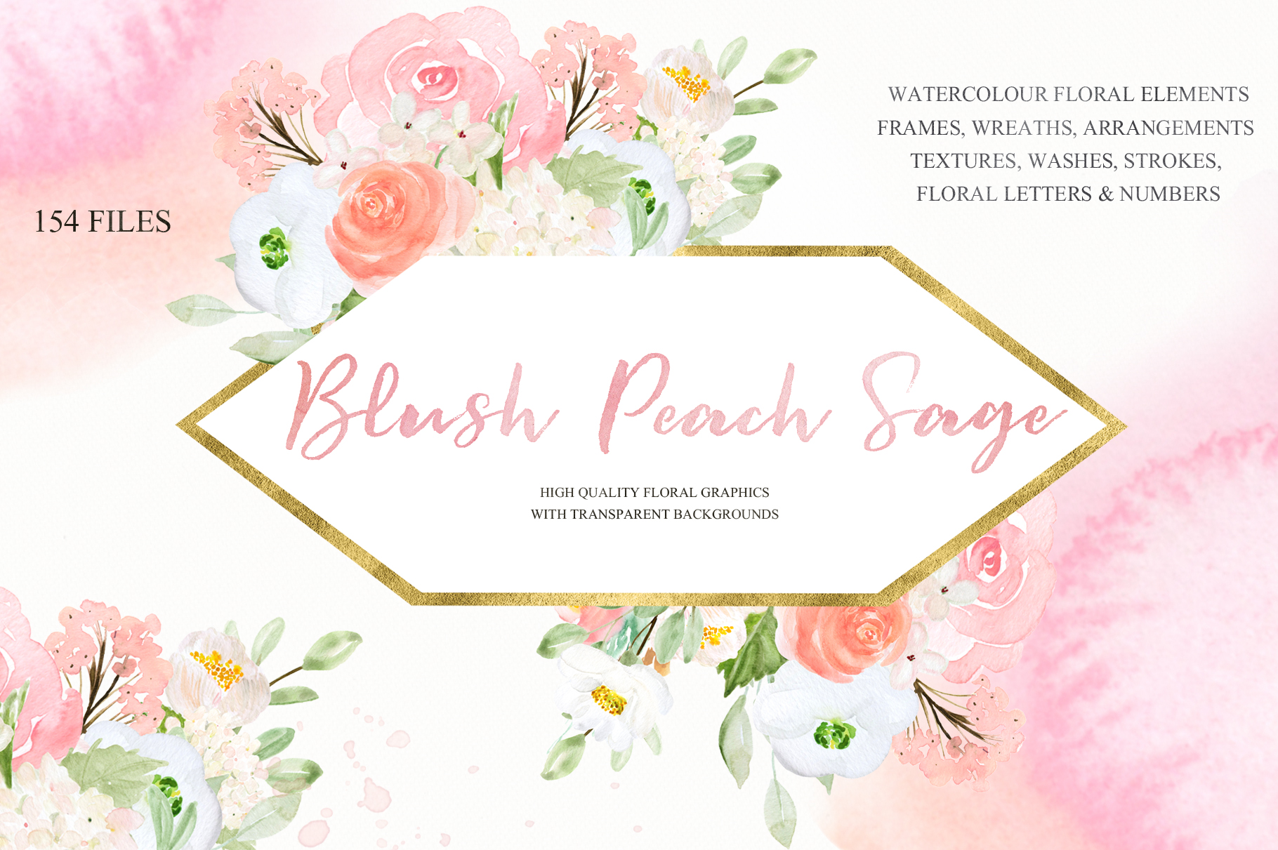 Blush Peach Sage Watercolor flowers clipart example image 3