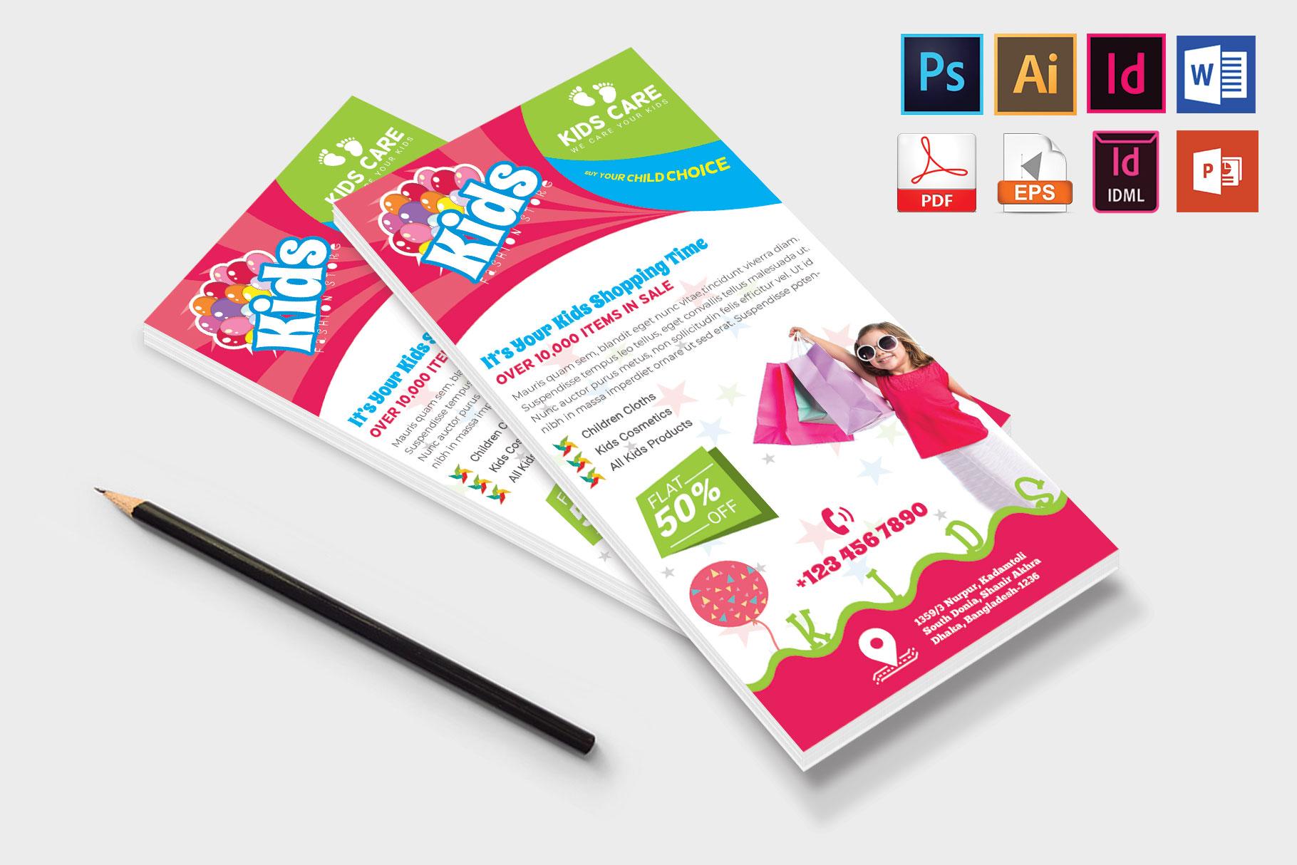 Rack Card | Kids Fashion DL Flyer Vol-01 example image 4