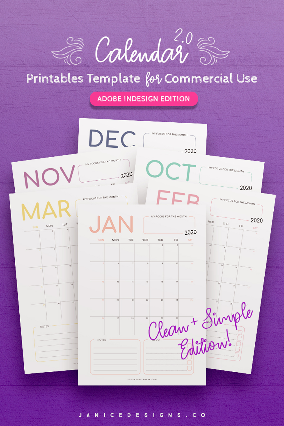 2020 Calendar InDesign Template for Commercial Use example image 2