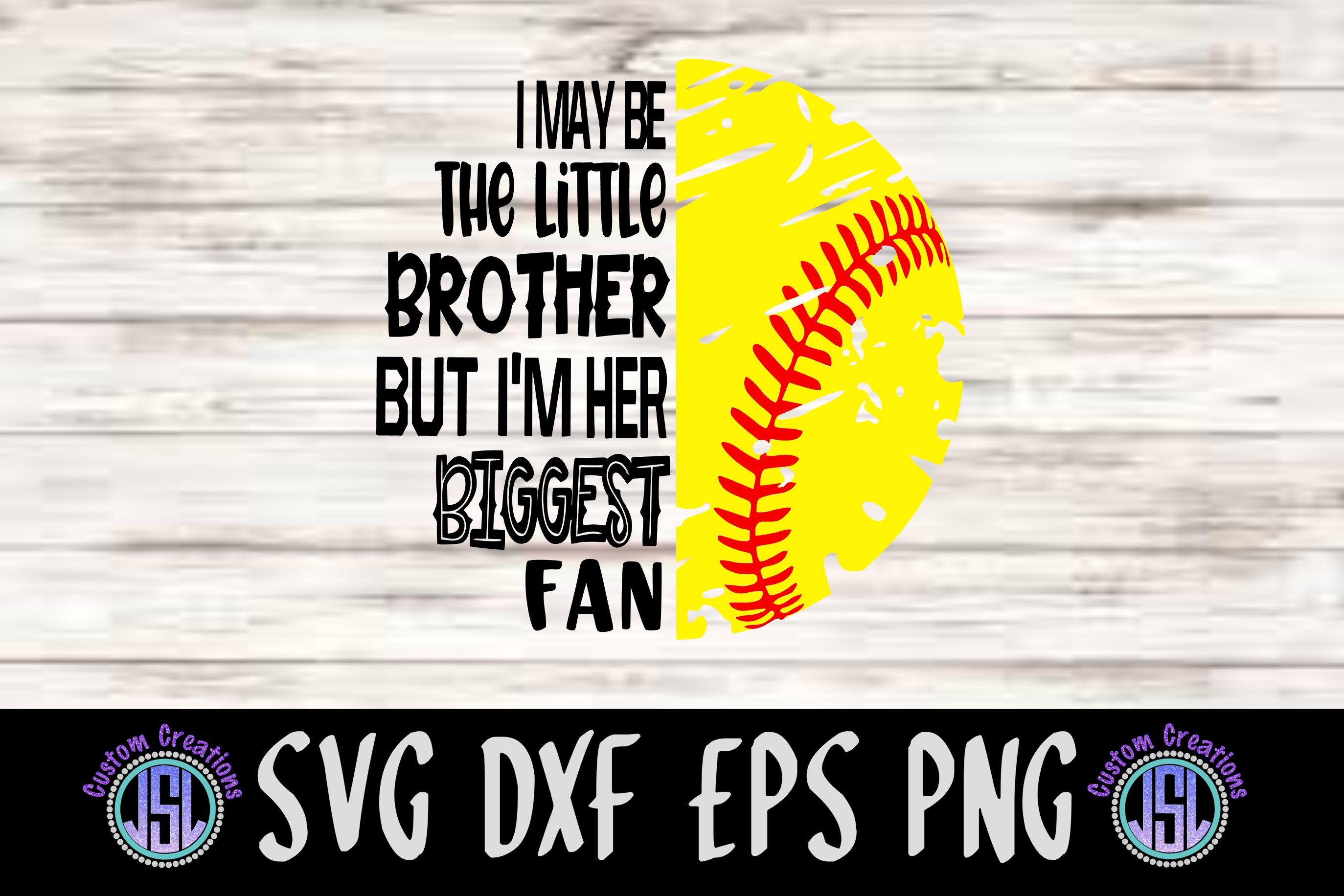 Biggest Fan Little Brother & Sister Softball|SVG DXF EPS PNG example image 2