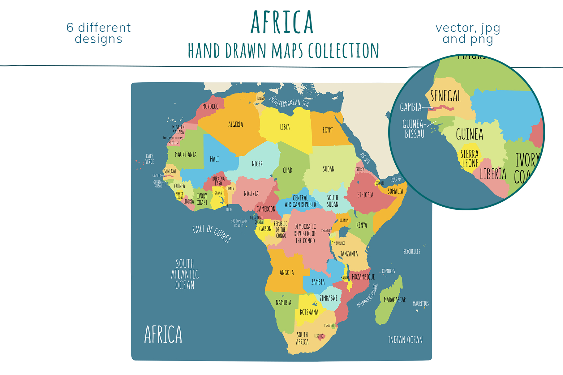 Maps of Africa. Hand drawn collection example image 4