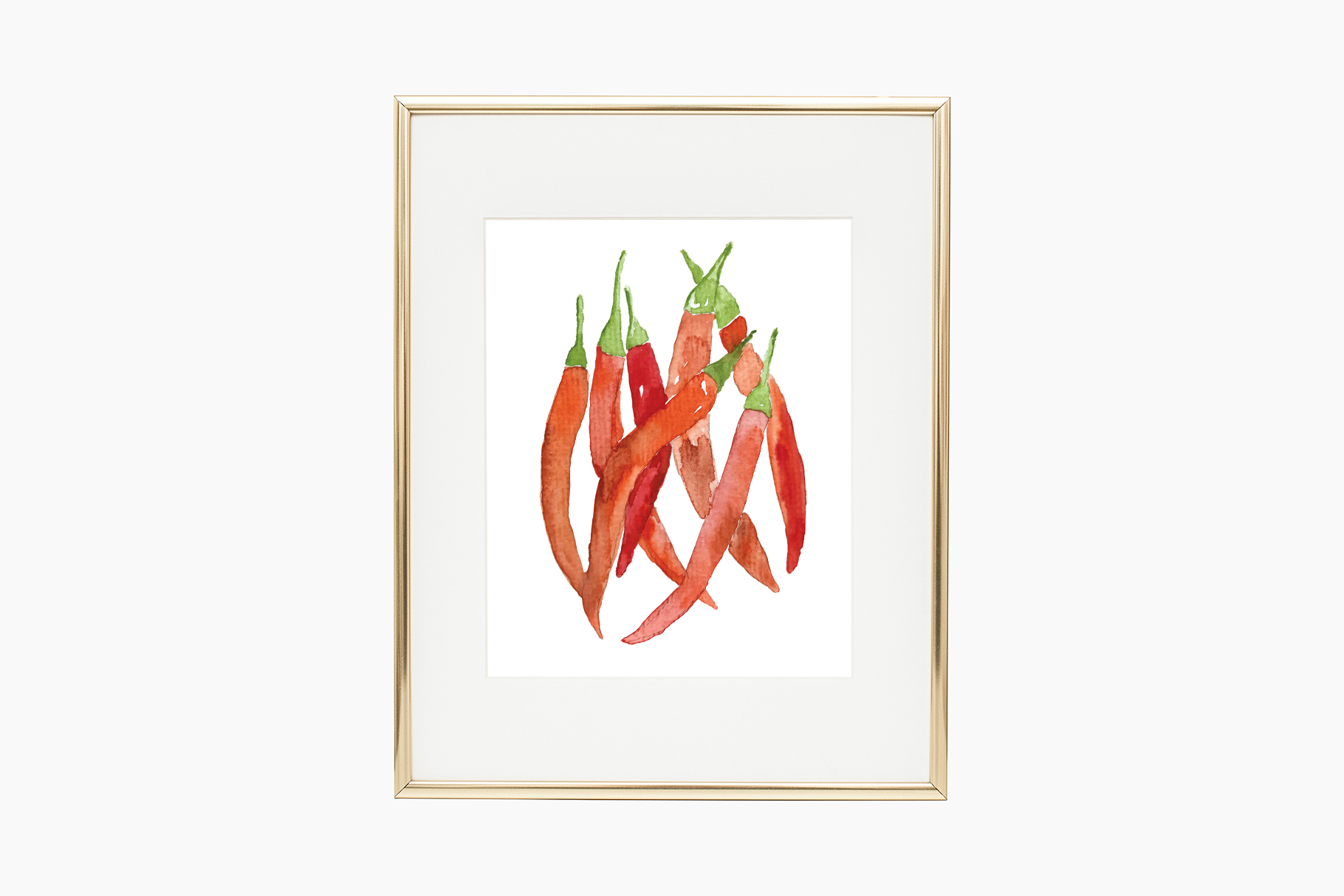 Red hot chili peppers watercolor illustration example image 2
