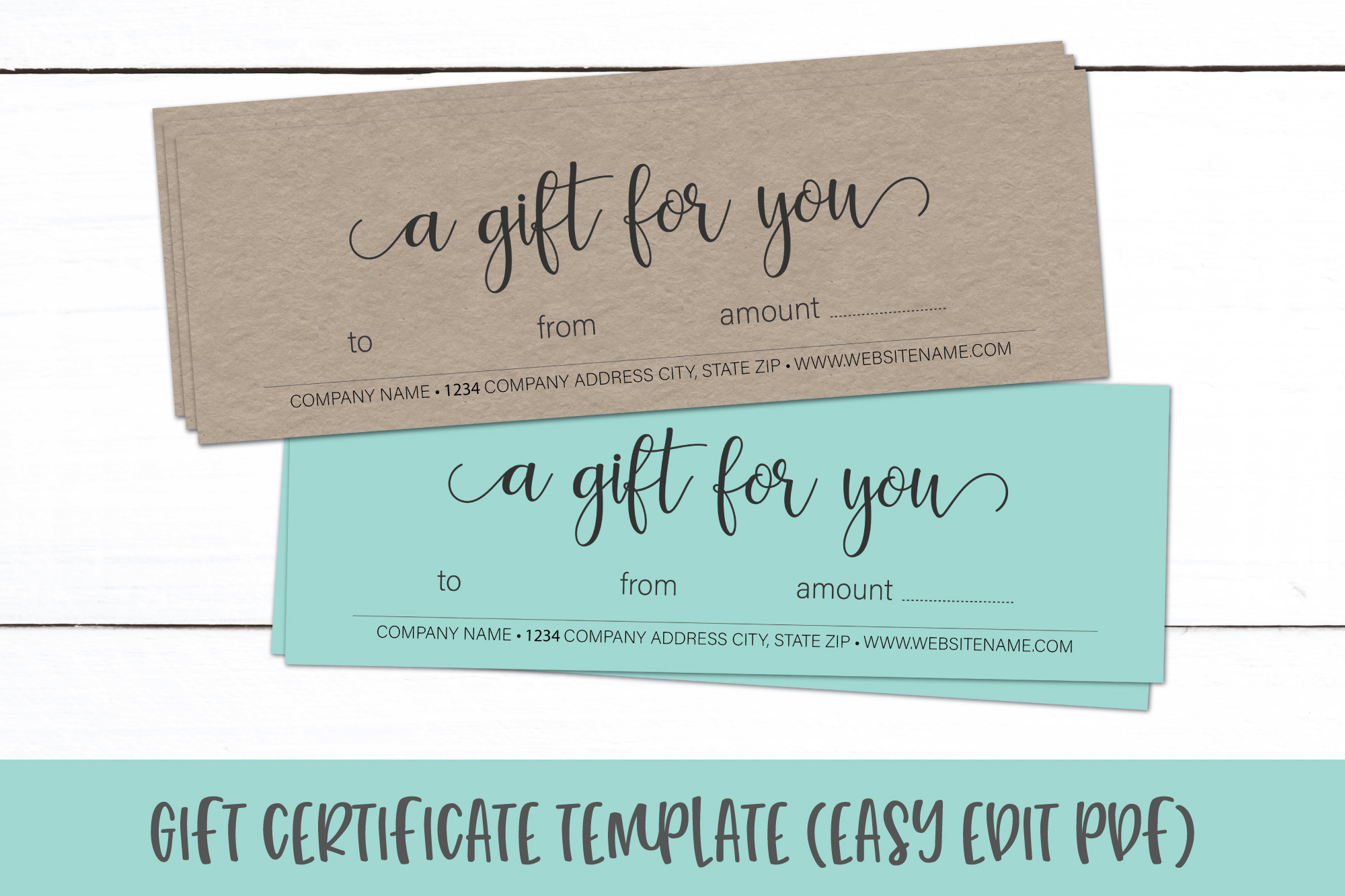 Gift Certificate Template | Editable Gift Card PDF (326553 ...