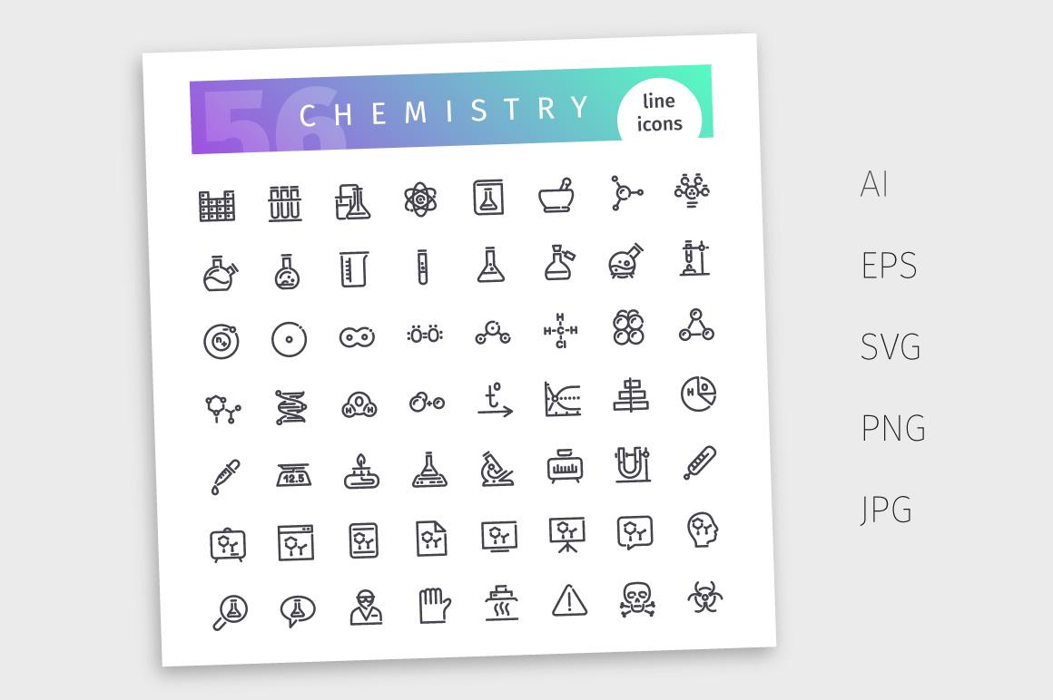 Chemistry Line Icons Set example image 4