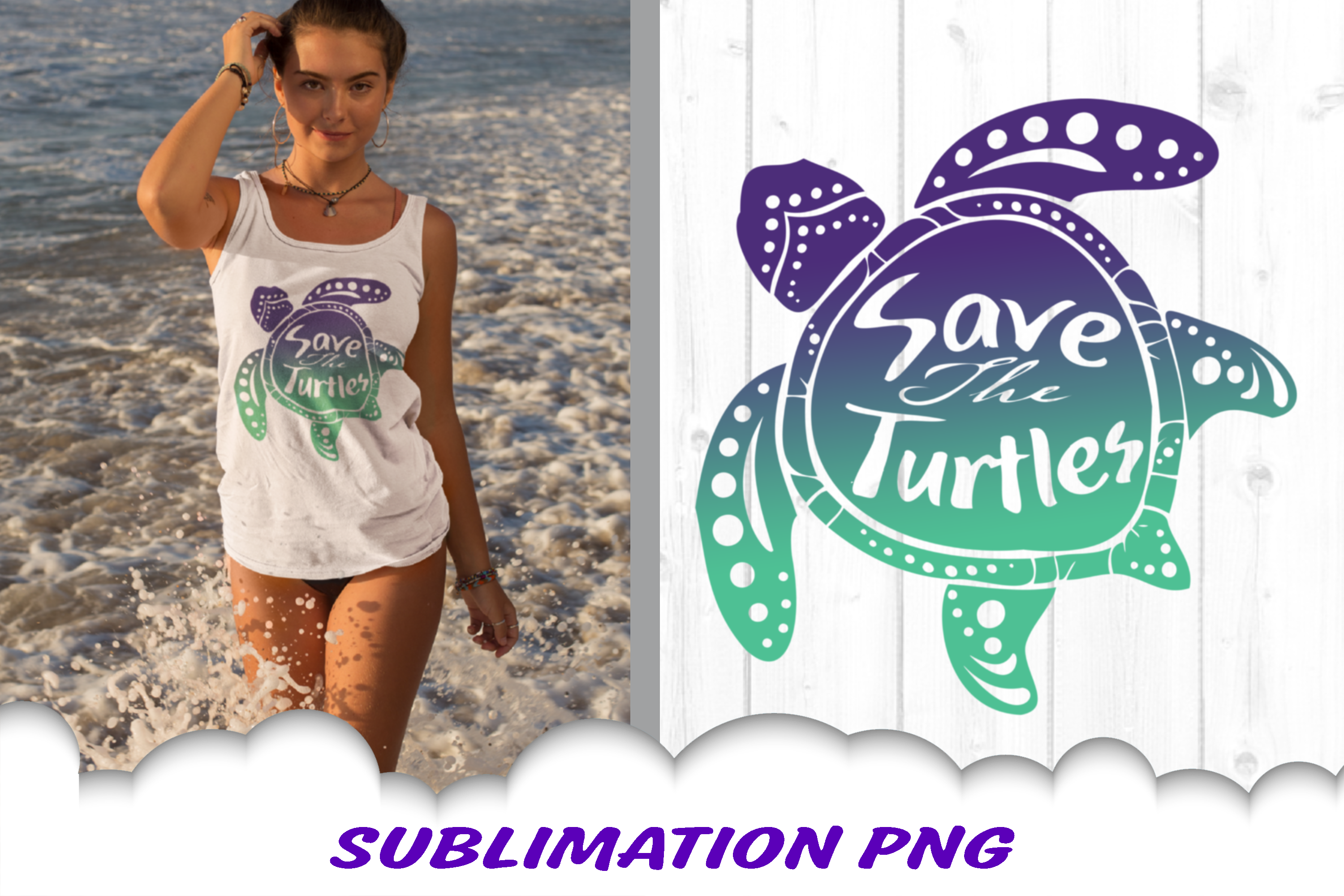 Sea Turtle Save The Turtles Sublimation PNG Bundle example image 1