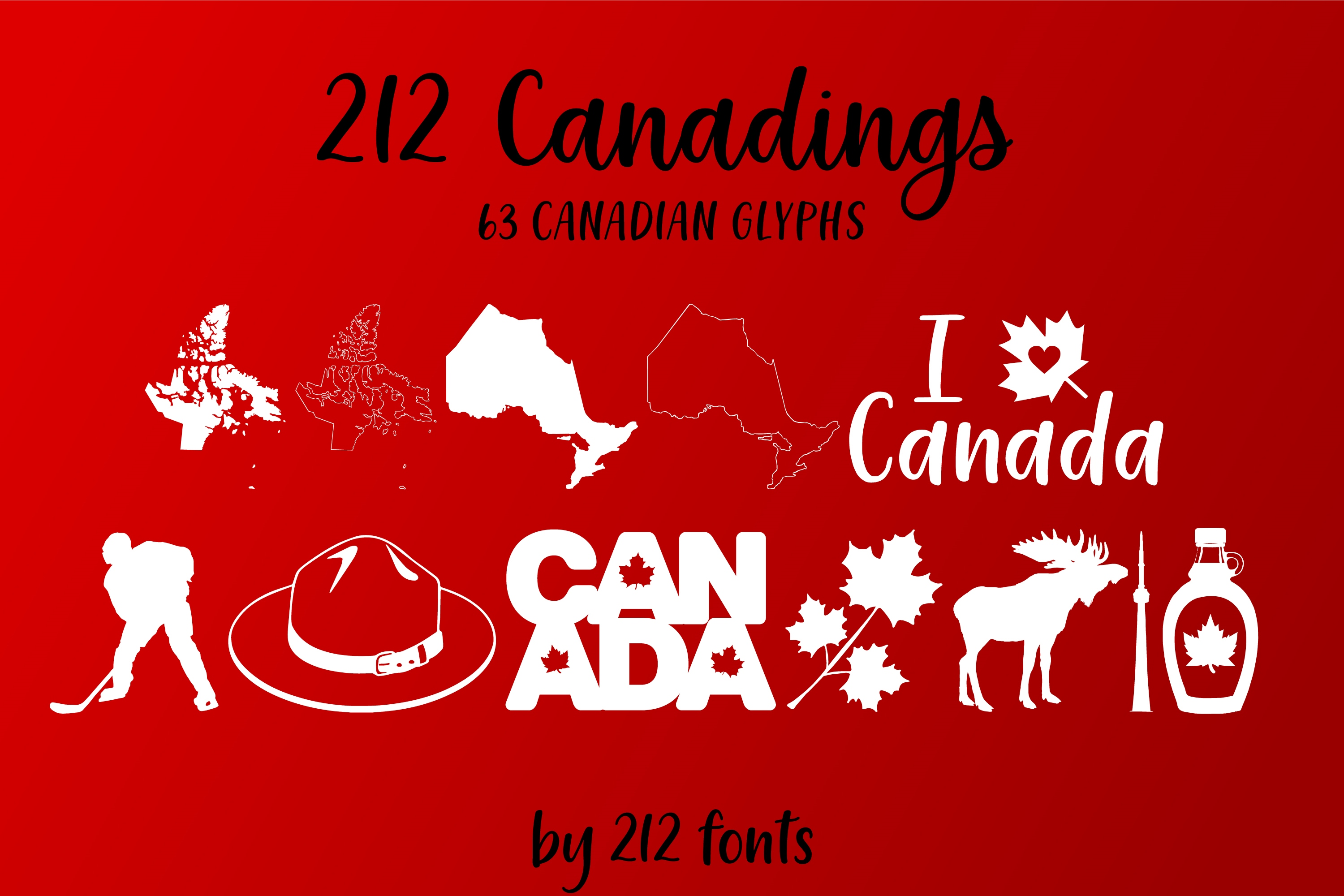 212 Canadings Canada Dingbat Solid and Outline Font example image 2
