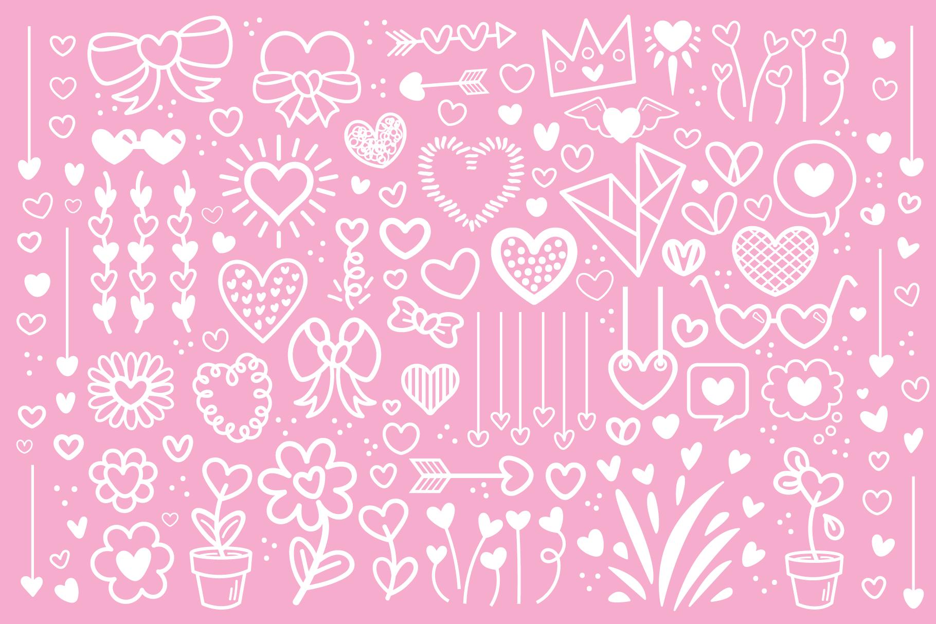 Cartoon Doodle Heart Clip Art Set example image 3