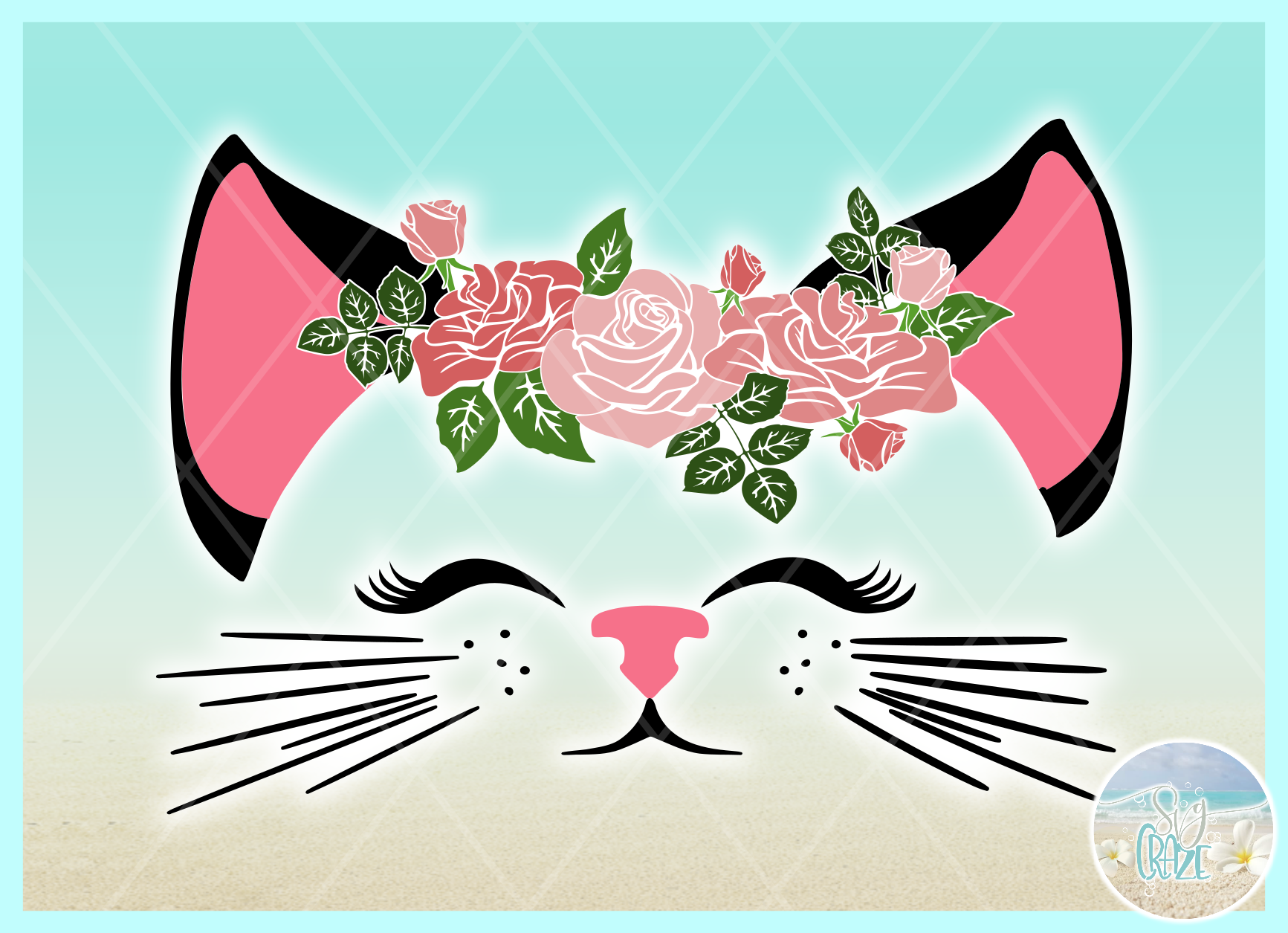 Cat Face With Roses Svg Dxf Eps Png Pdf Files example image 2
