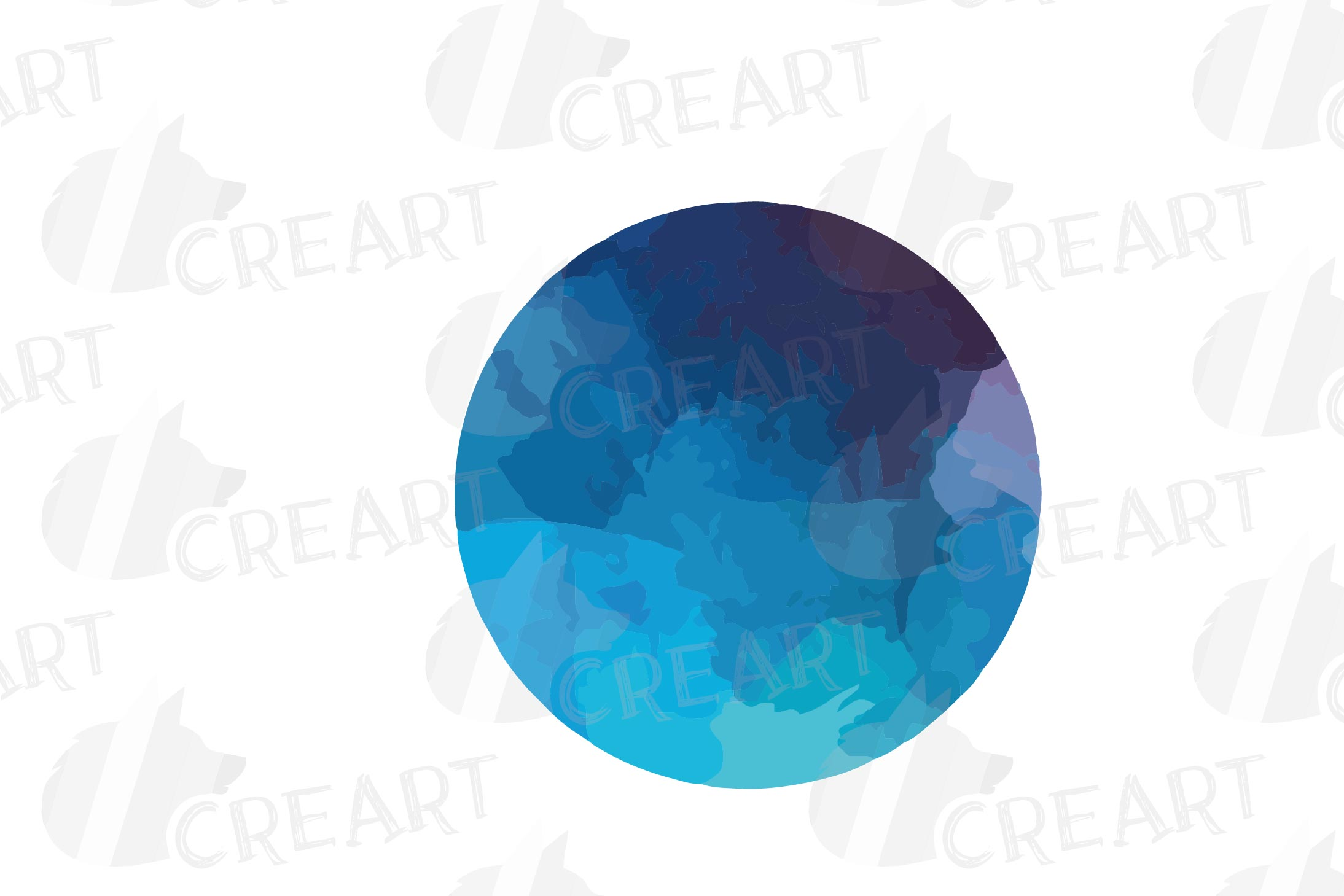 Watercolor space blue and grey Moon Phases clip art pack example image 15