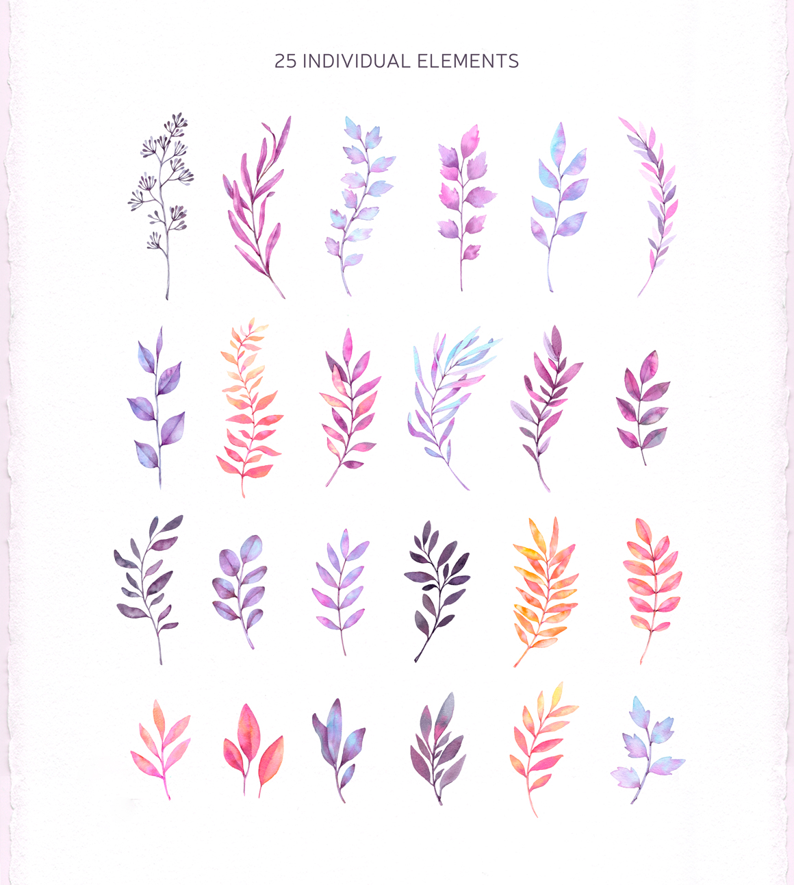 Watercolor wonderful leaves. Violet example image 2