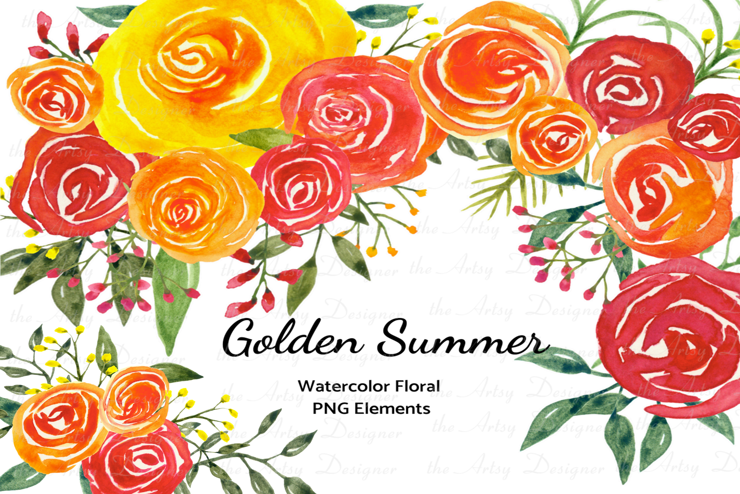 Watercolor Flowers Clipart Bundle Orange Red Yellow Florals example image 1
