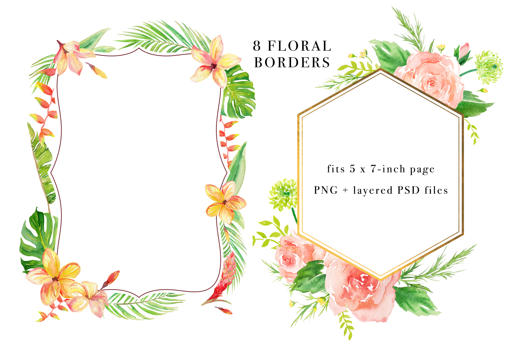 Floral Borders Watercolor Set example image 2