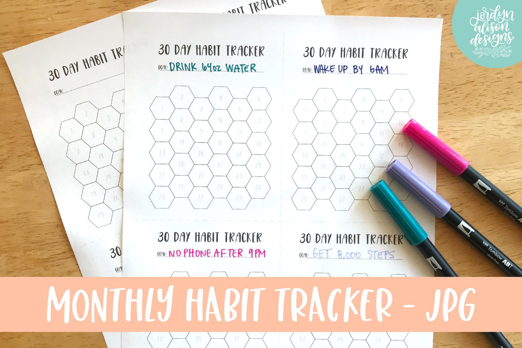 Hexagon Monthly Habit Tracker, Printable or Digital Planner example image 3