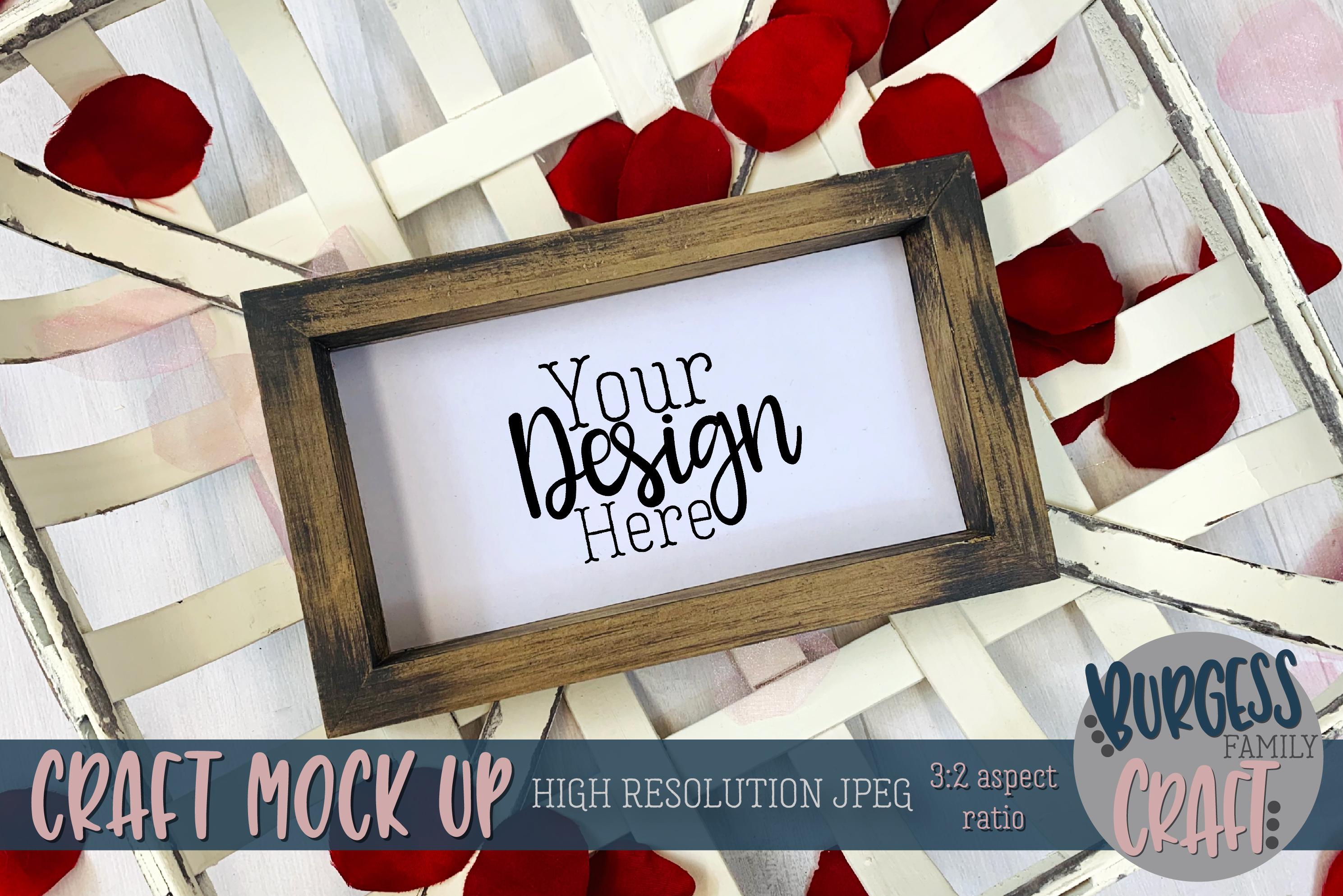 Valentine wood sign and basket Craft mock up example image 1