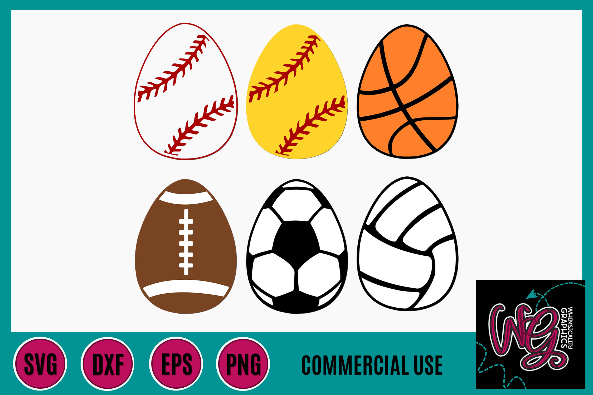 Sports Easter Eggs SVG DXF PNG EPS Comm example image 1