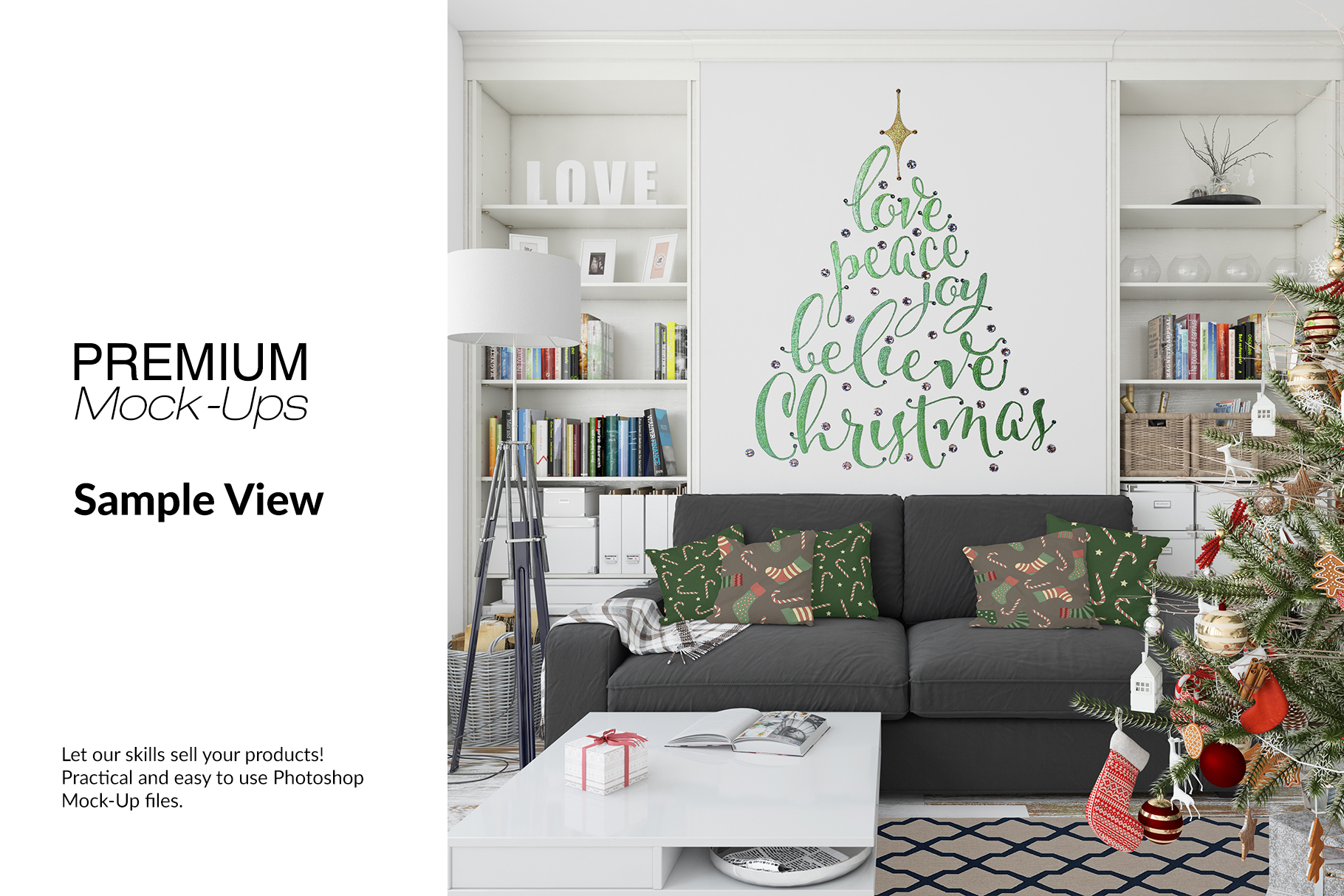 Christmas Living Room Set - Throw Pillows Frames & Wall example image 7