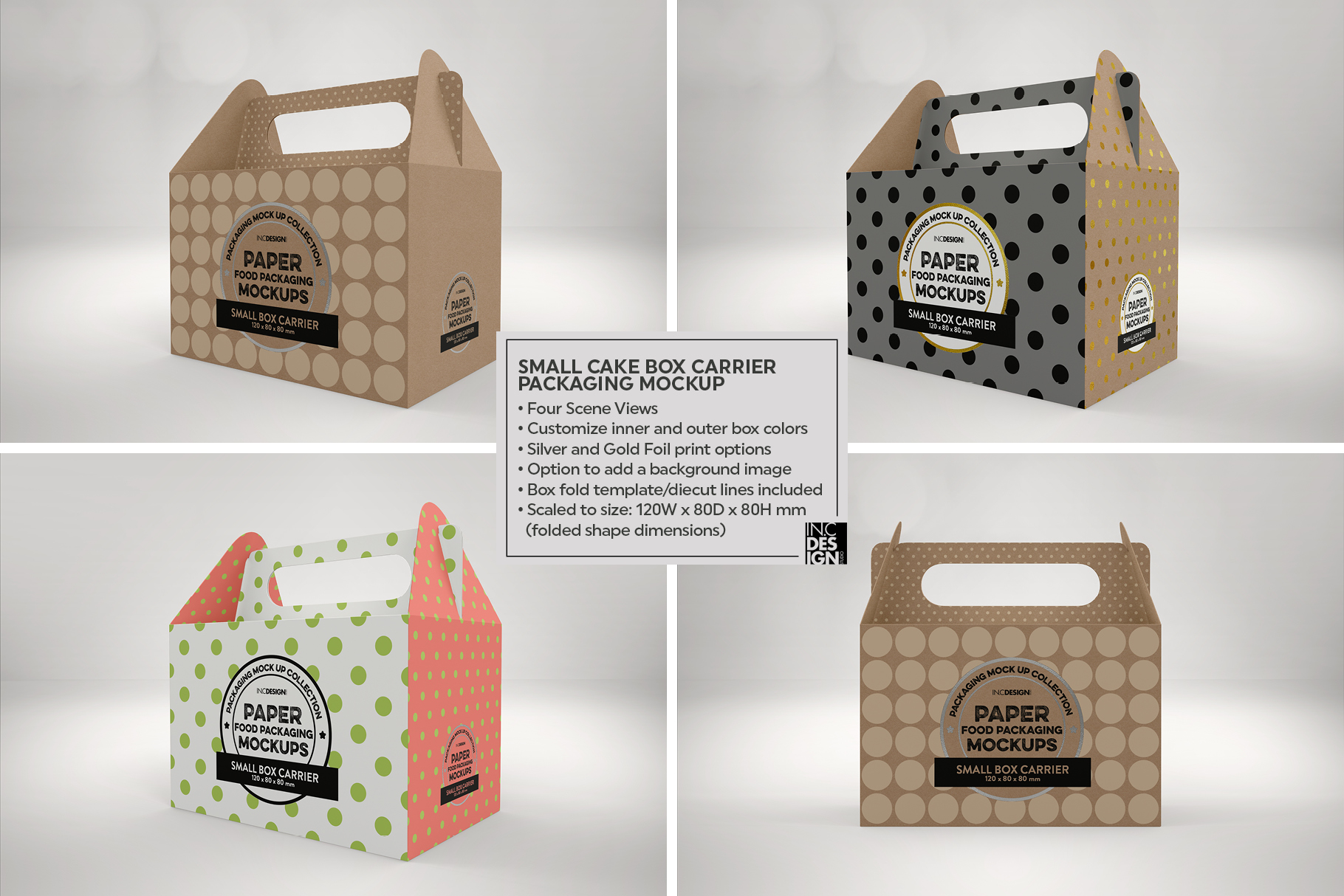 Small Cake Box Carrier Packaging Mockup example image 8