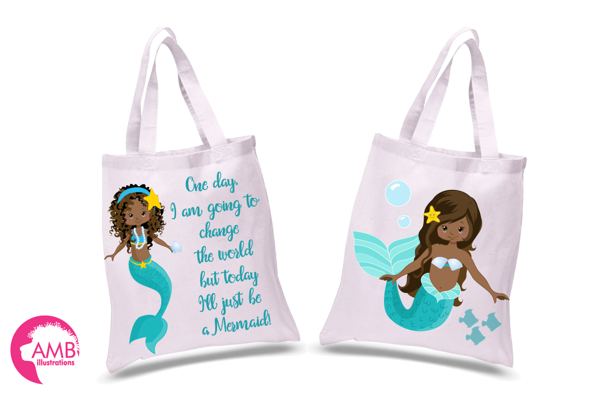 Mermaid Princess clipart, African AMerican Mermaids clipart, graphics, illustrations AMB-1363 example image 2