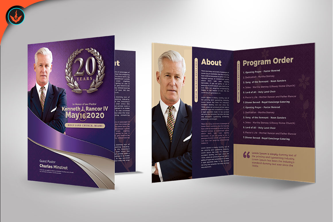 Lavender Pastors Church Anniversary Template example image 3