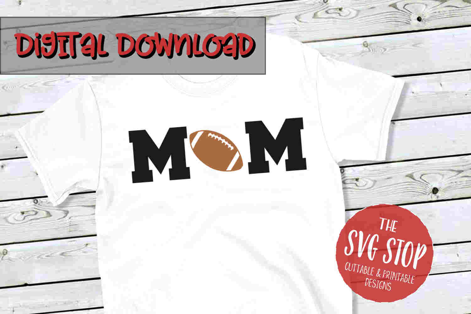 Mom Football 2-SVG, PNG, DXF example image 1