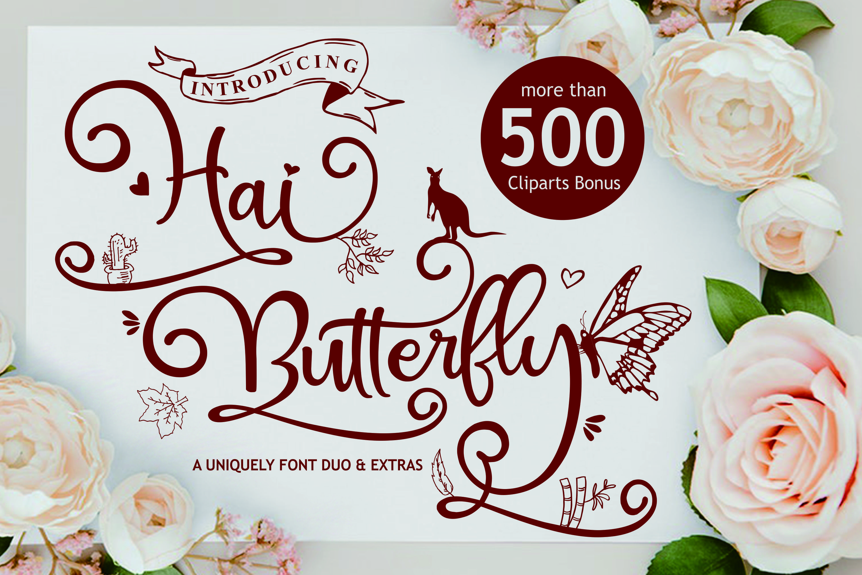 Hai Butterfly Font Duo and 500 Vectors example image 2