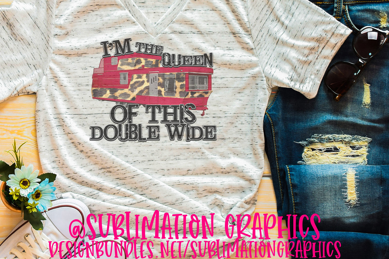 Queen of This Double Wide Sublimation PNG example image 1