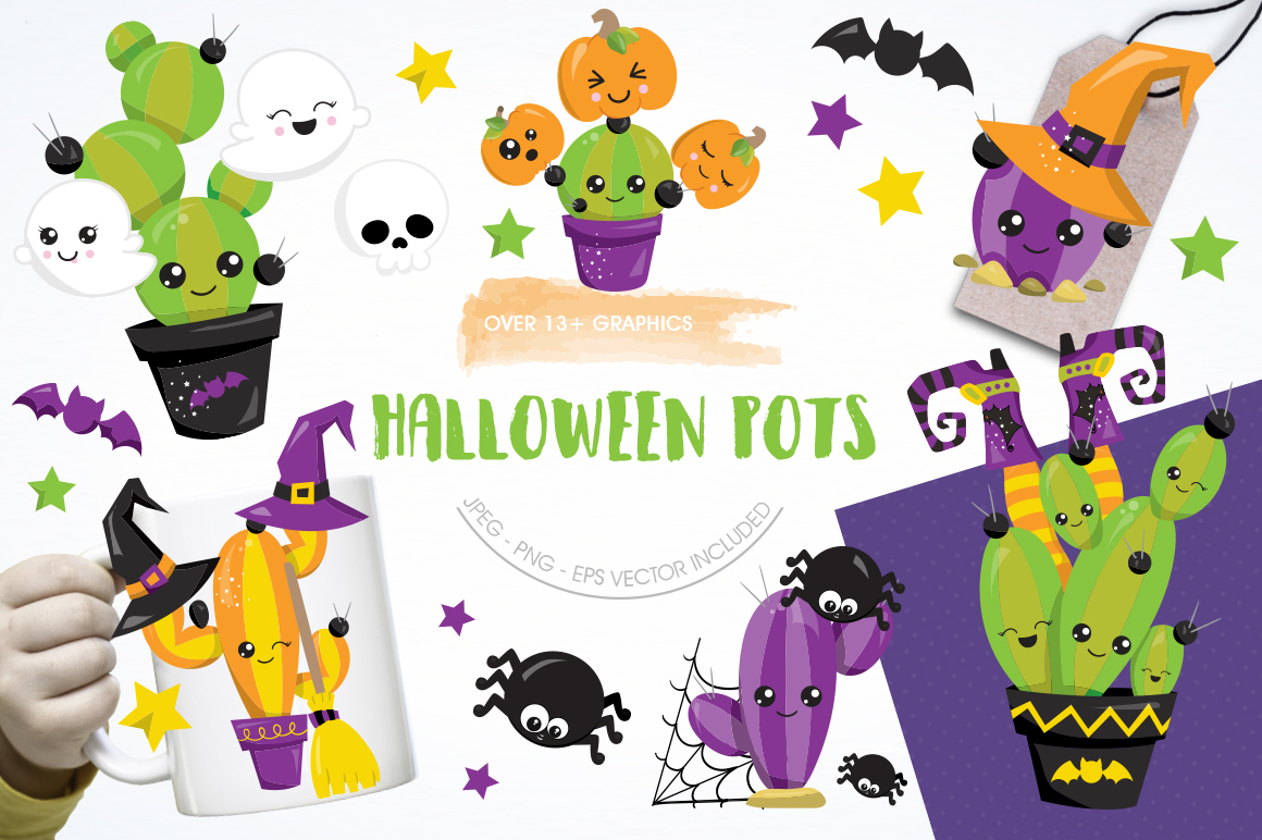 Halloween Pots graphic and illustrations example image 1