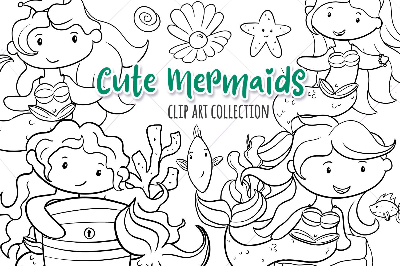 Cute Mermaids Digital Stamps example image 1