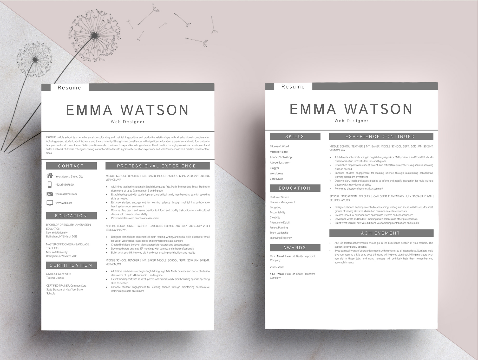 Professional creative Resume Template 4 Pages example image 4