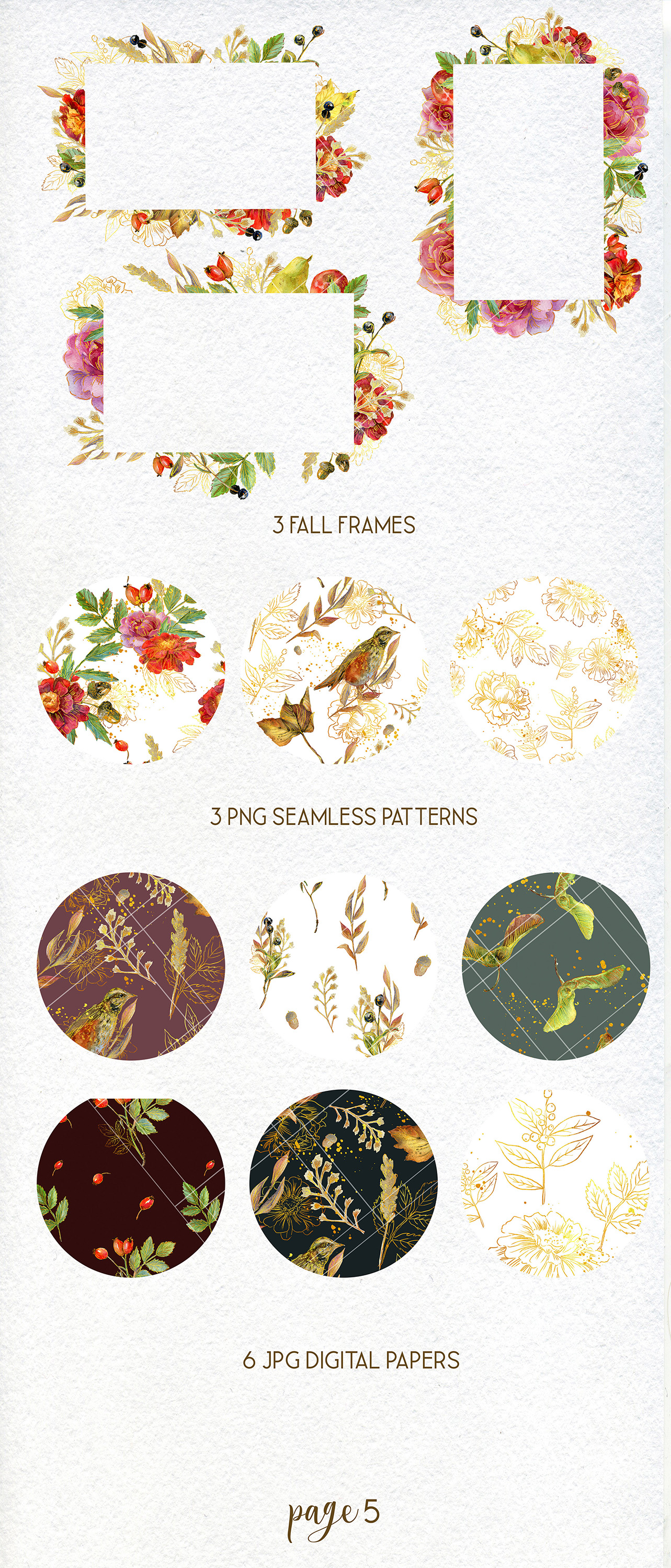 Golden Autumn clipart, Thanksgiving floral clip art example image 6