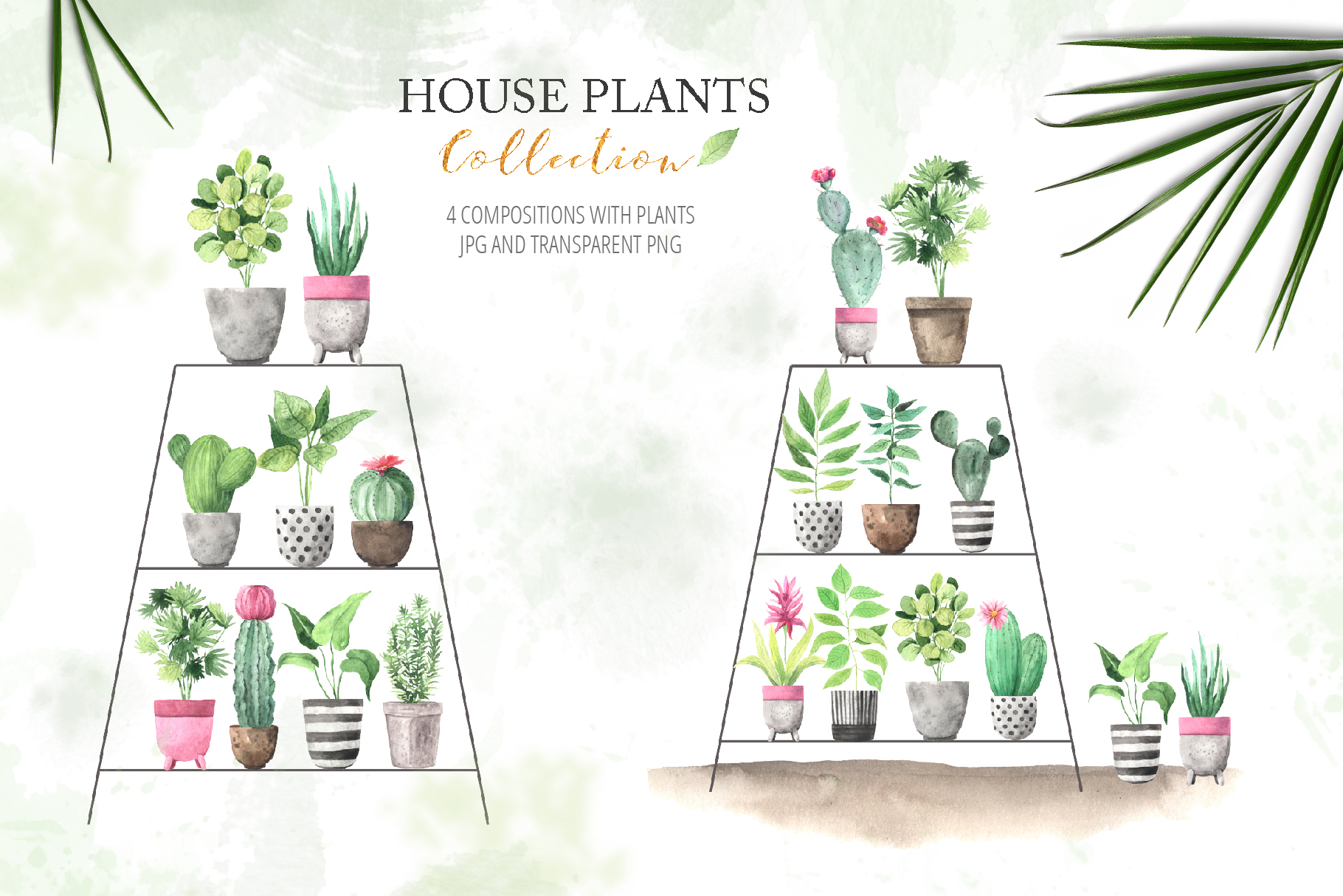 Watercolor House Plants Collection example image 4