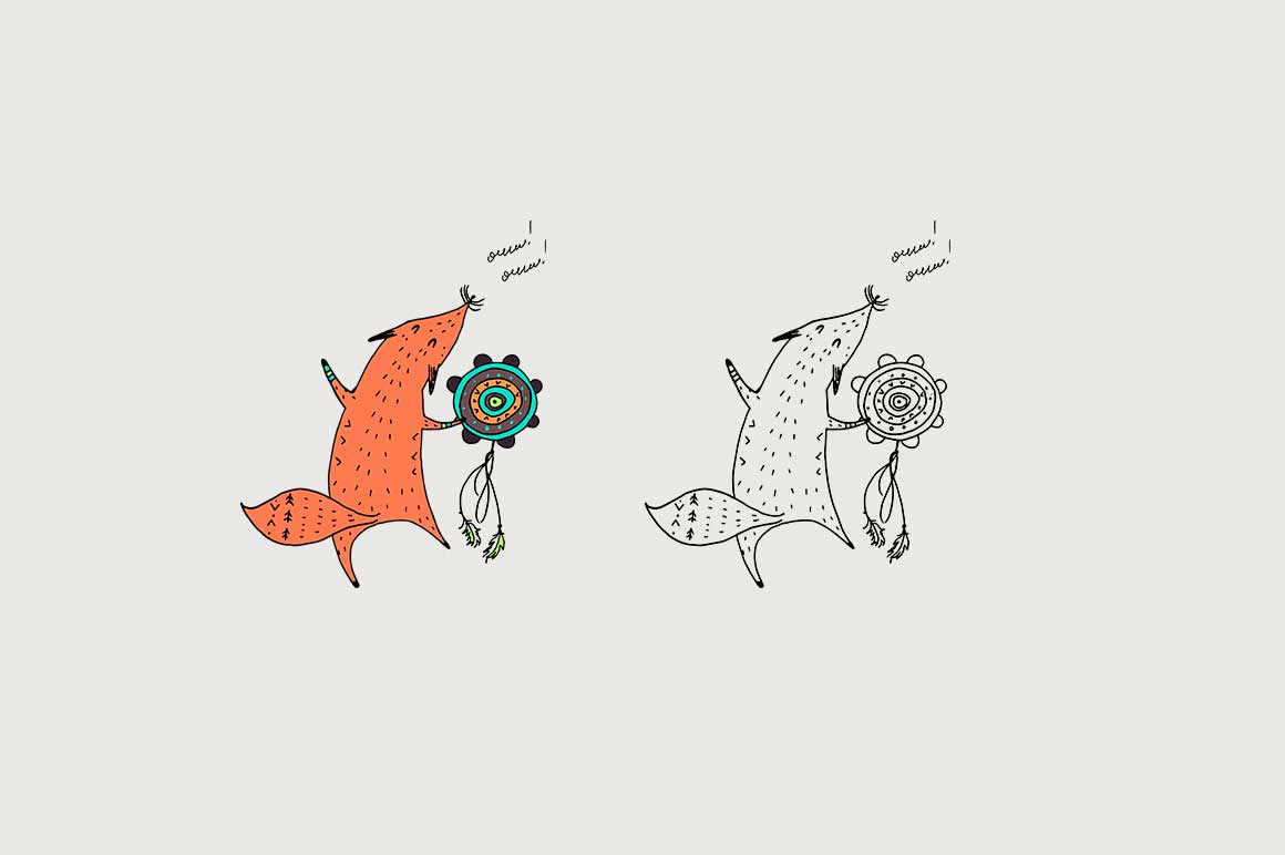 Fox personages and patterns example image 3