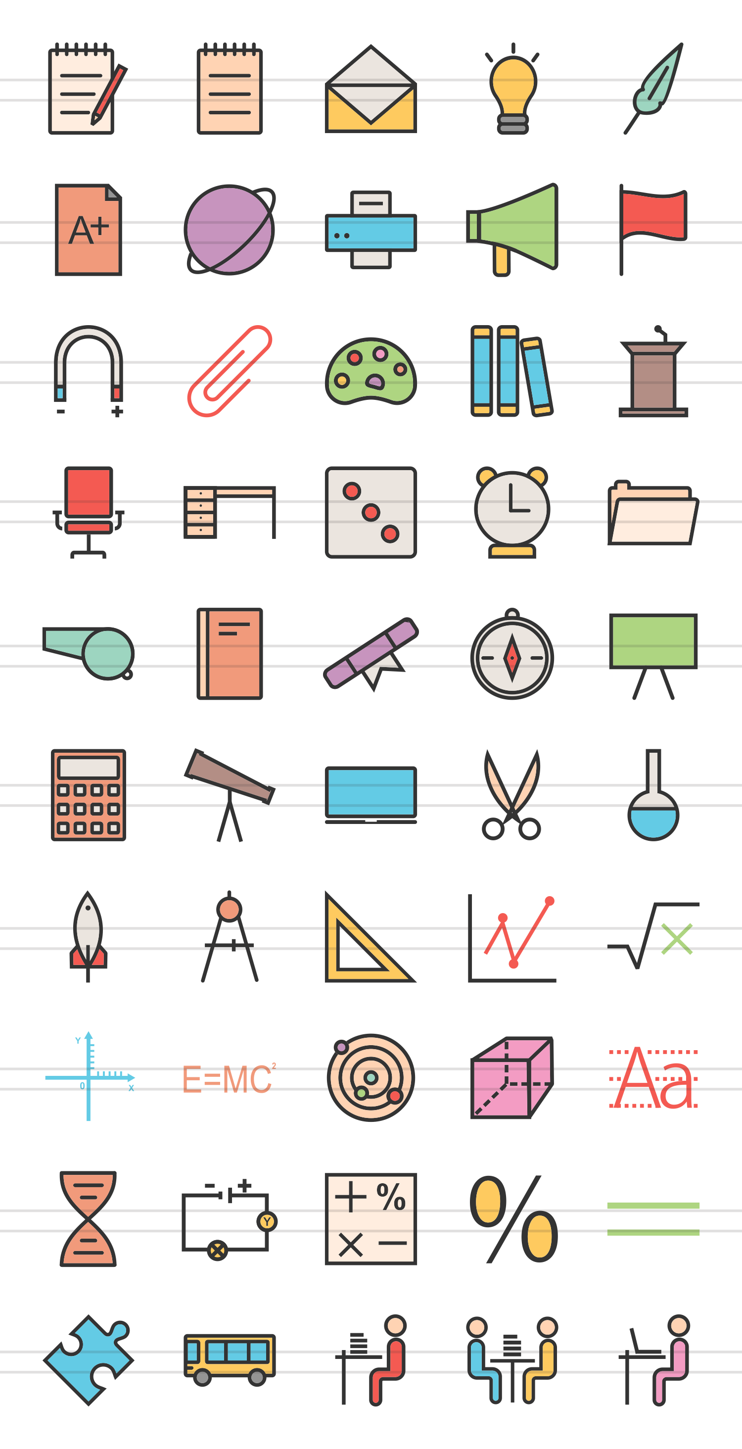 50 Education & Science Linear Multicolor Icons example image 2