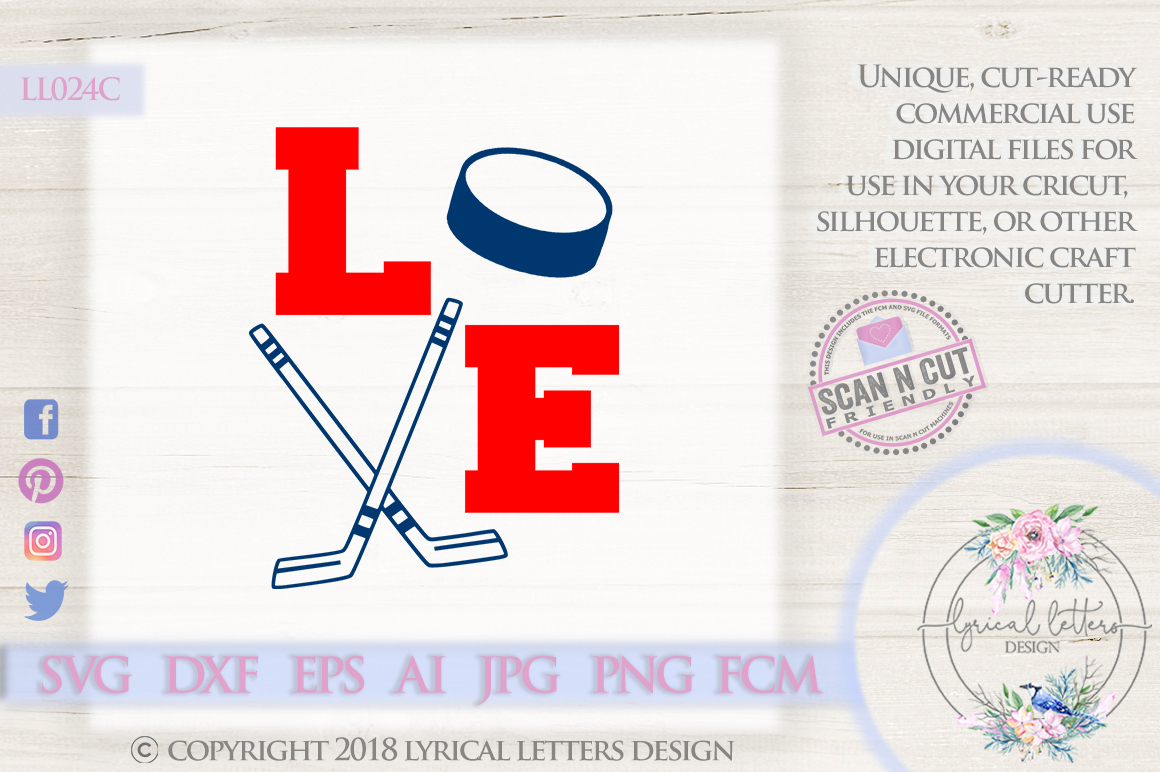 Hockey Love with Hockey Sticks and Puck SVG DXF LL024C example image 1