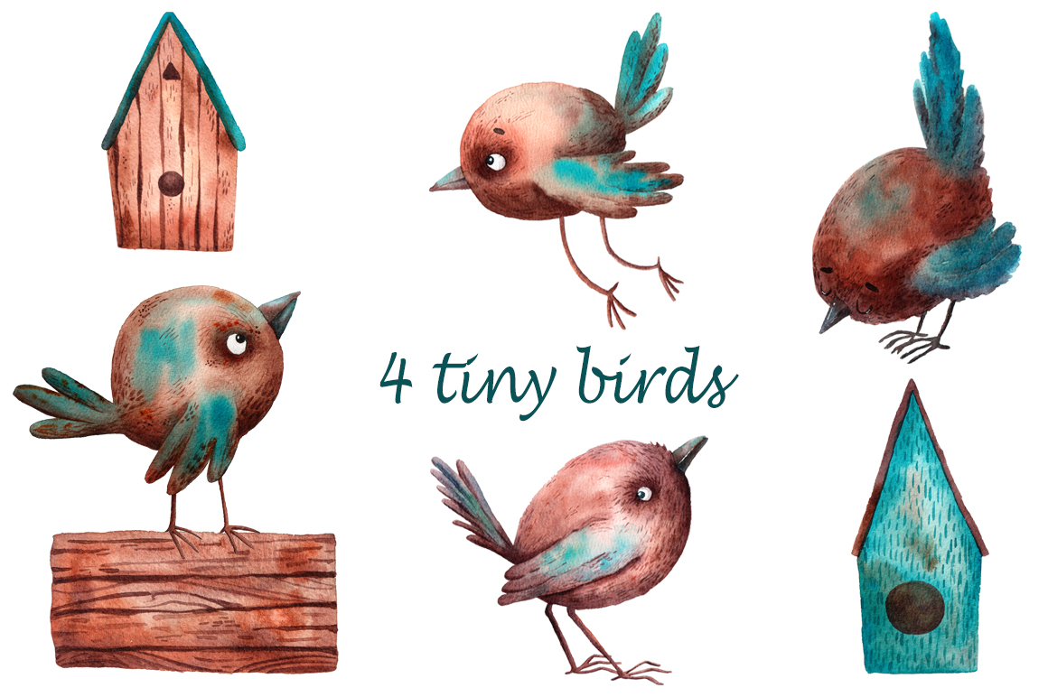 Tiny Birds - Watercolor Clip Art Set example image 2