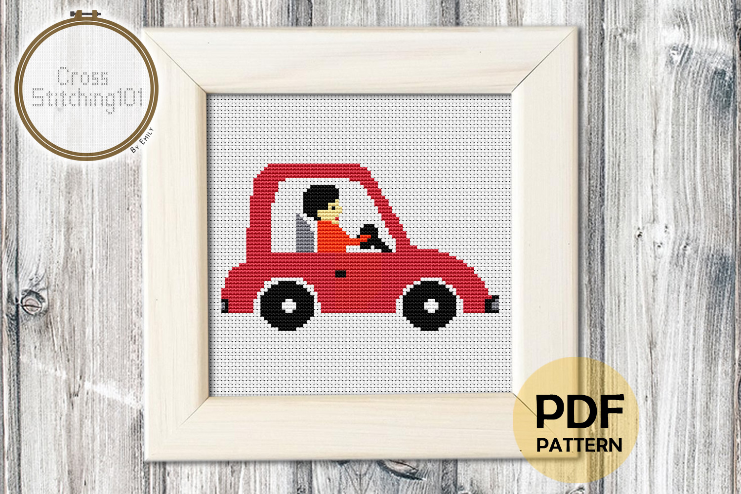 Gentleman Driving Car Cross Stitch Pattern- Instant Download example image 1