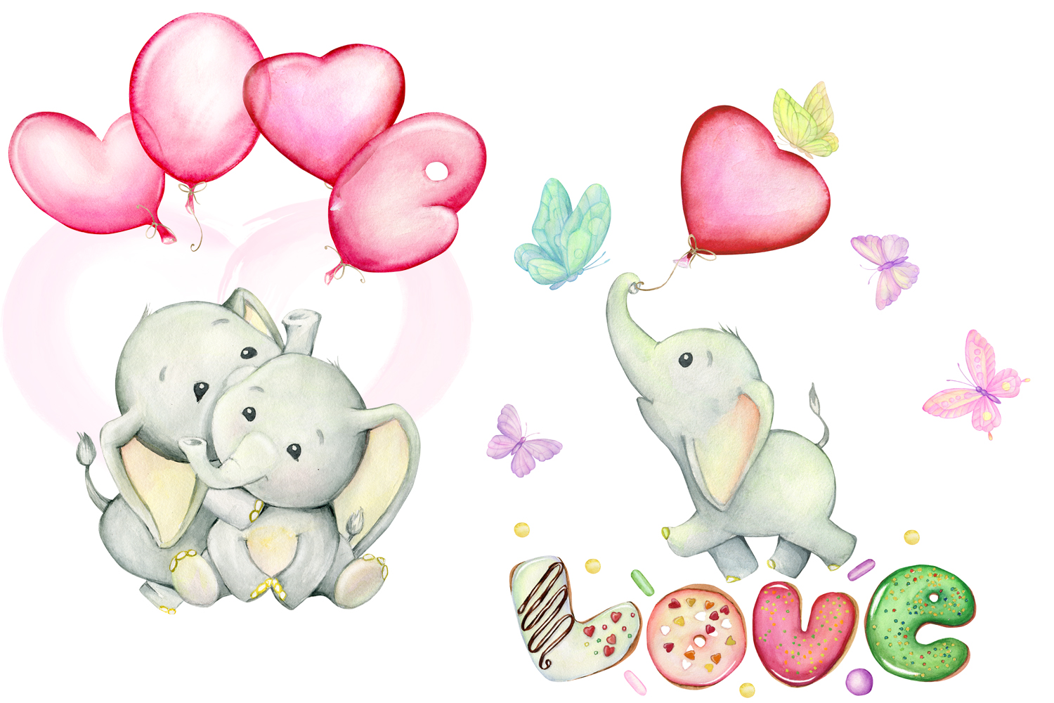 watercolor Cute little elephants, for Valentine's Day example image 2