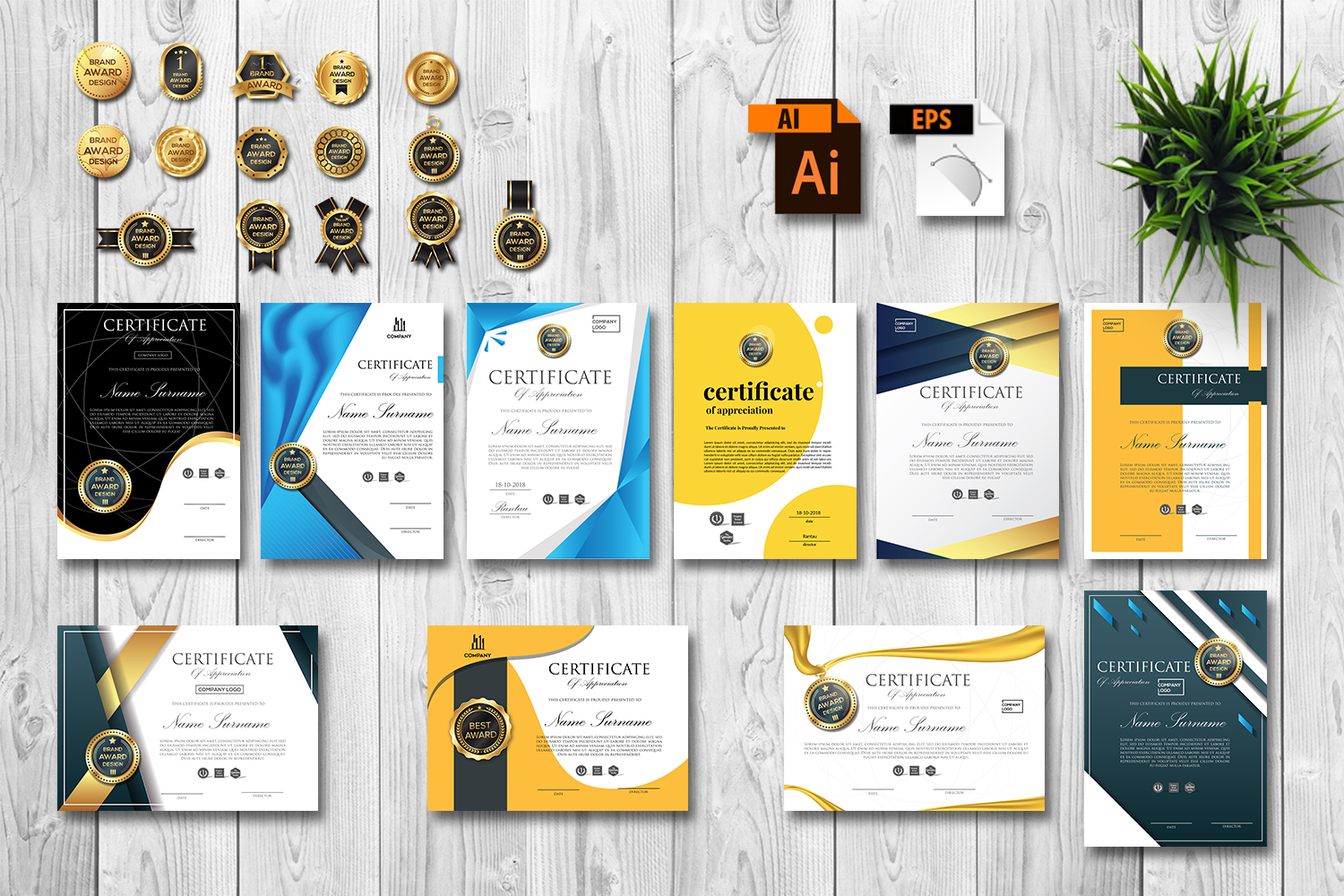 Creative Certificate Design Template with 15 Badge Vol. 2 example image 1
